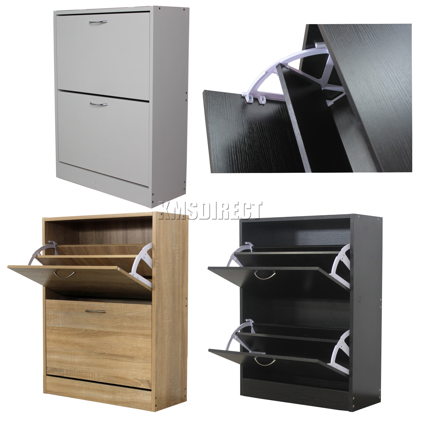 Foxhunter wooden shoe storage cabinet 2 drawer footwear for Shoe cabinet