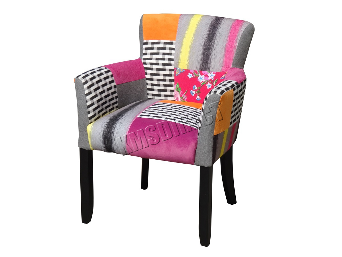 Foxhunter Patchwork Chair Fabric Vintage Armchair Seat