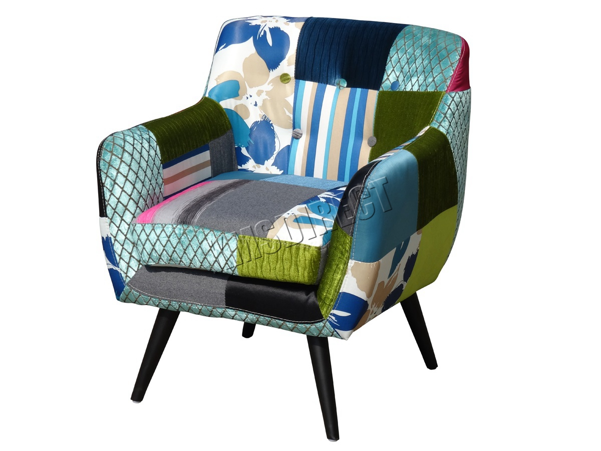 Foxhunter Patchwork Chair Fabric Vintage Tub Armchair Seat