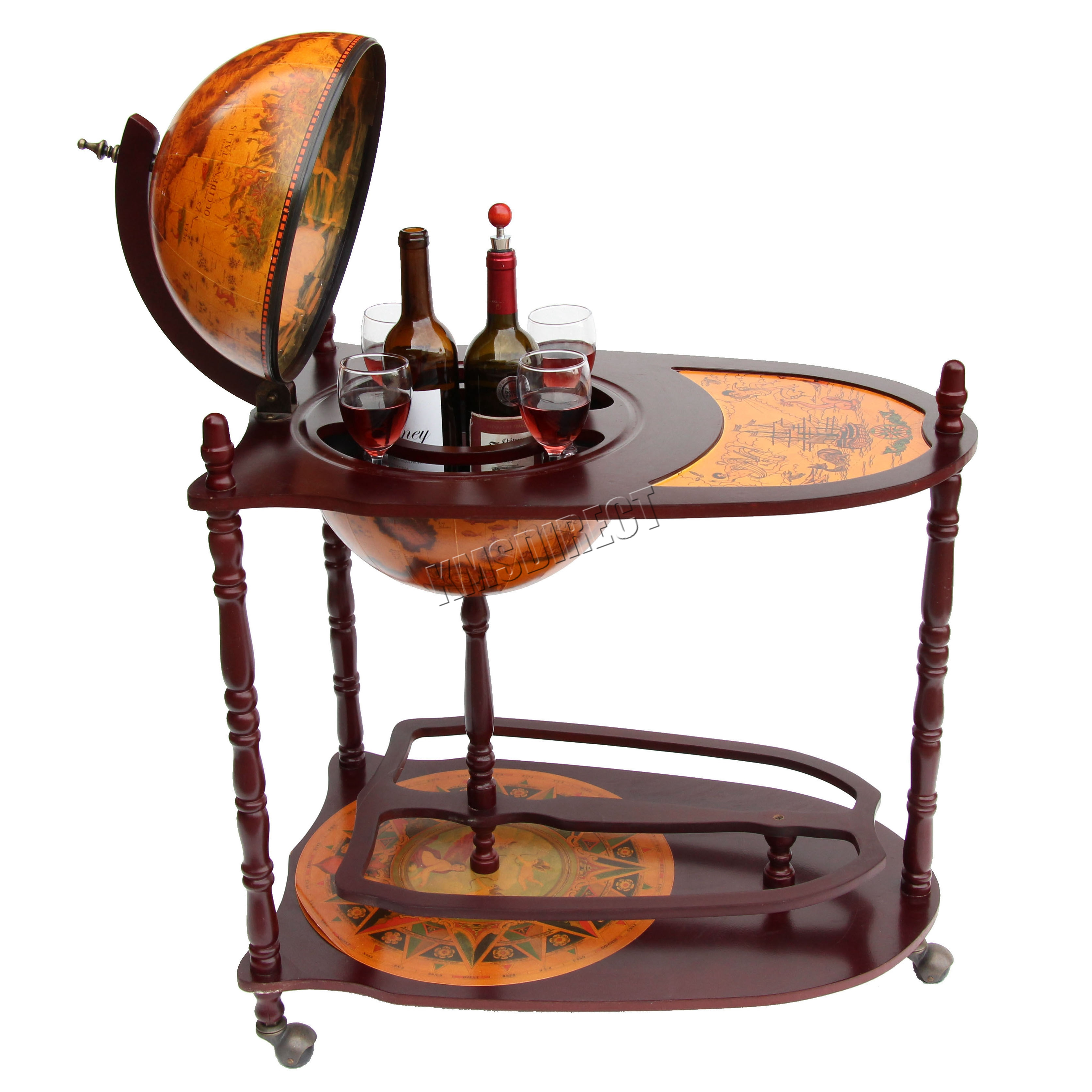 Foxhunter Globe Shaped Mini Bar Trolley With Table Drinks
