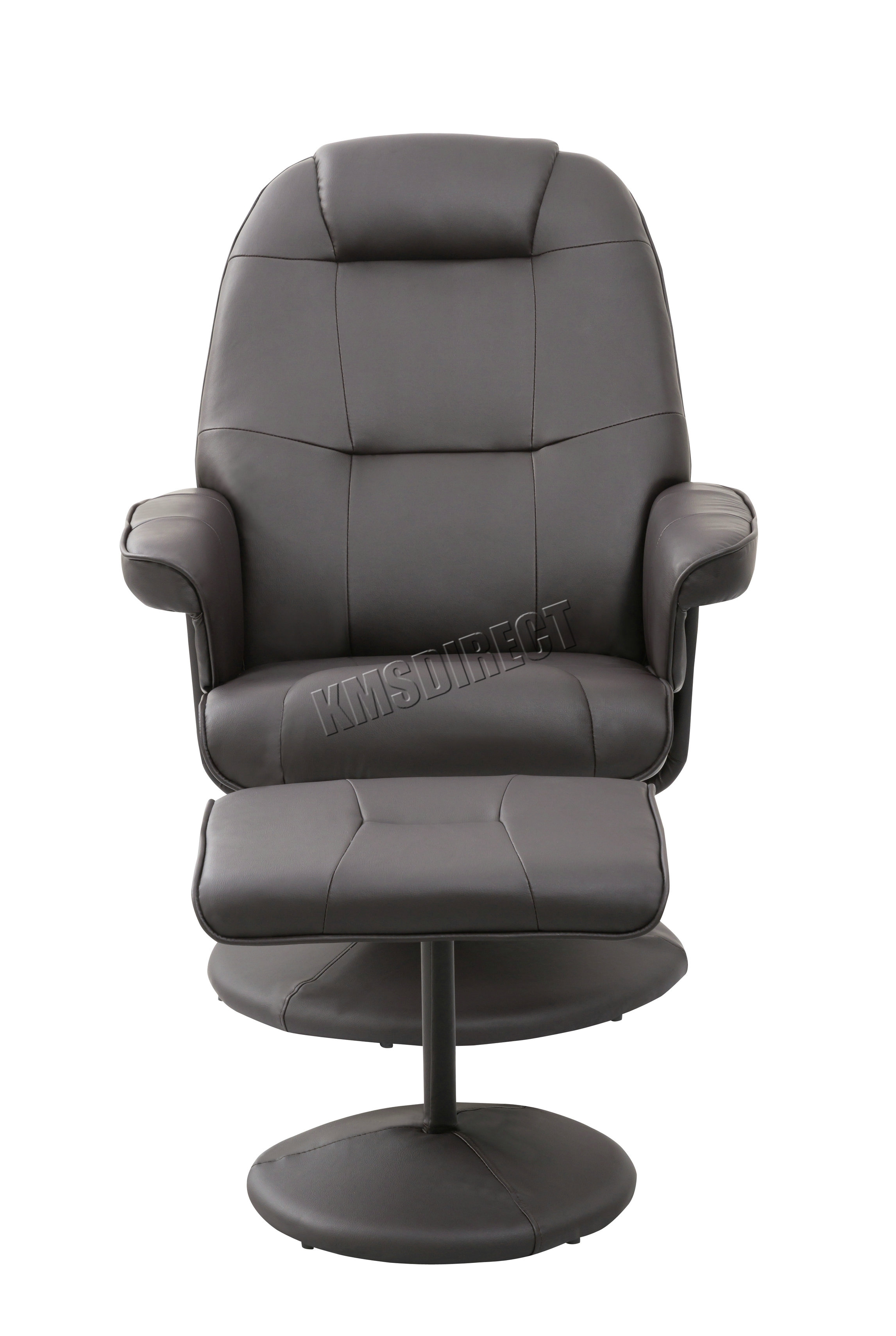 FoxHunter Executive Recliner PU Arm Chair Swivel Lounger Seat Foot