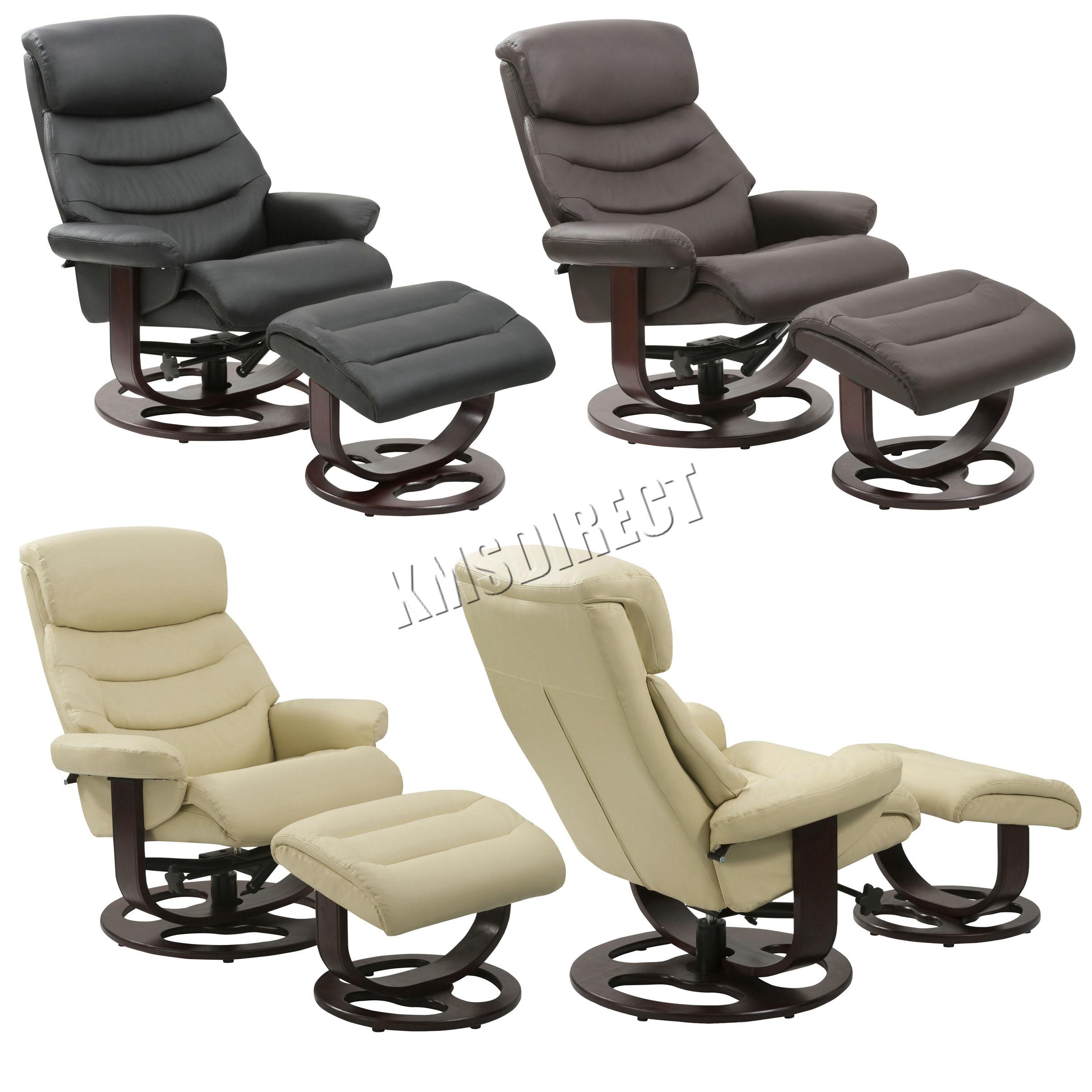 Foxhunter Executive Recliner Pu Arm Chair Swivel Lounger Seat Foot Stool Rcs04 Ebay