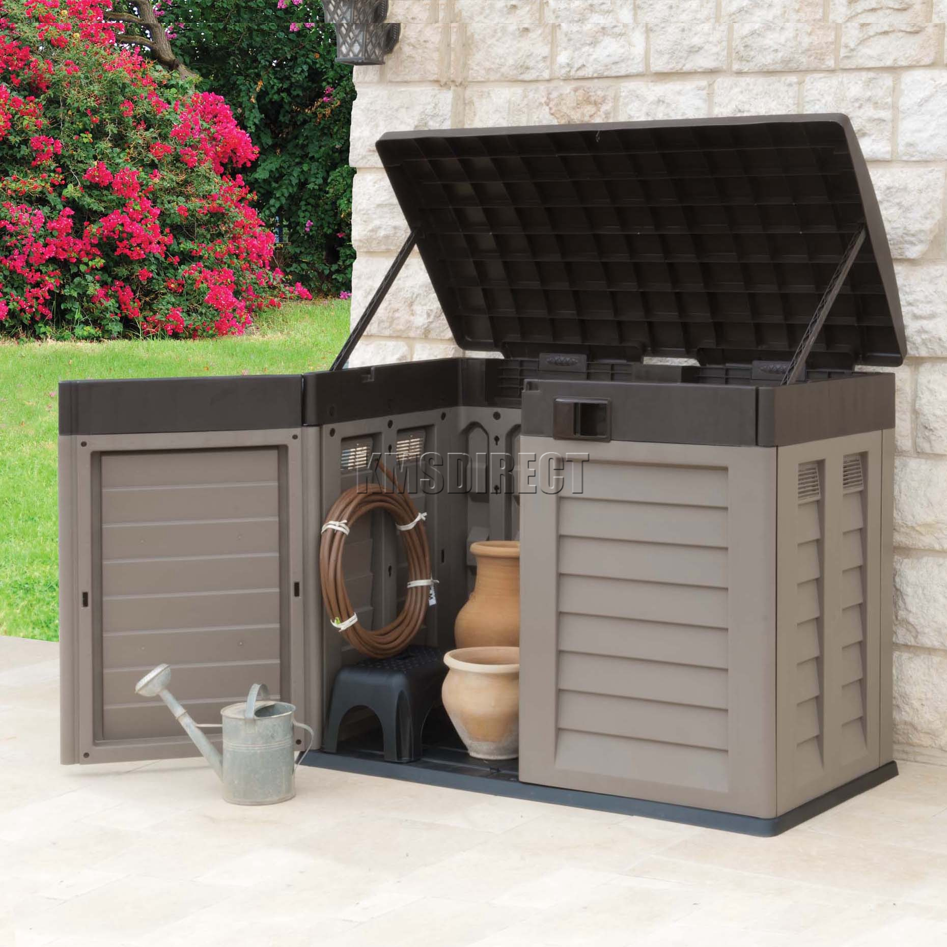starplast outdoor plastic garden low shed box chest. Black Bedroom Furniture Sets. Home Design Ideas