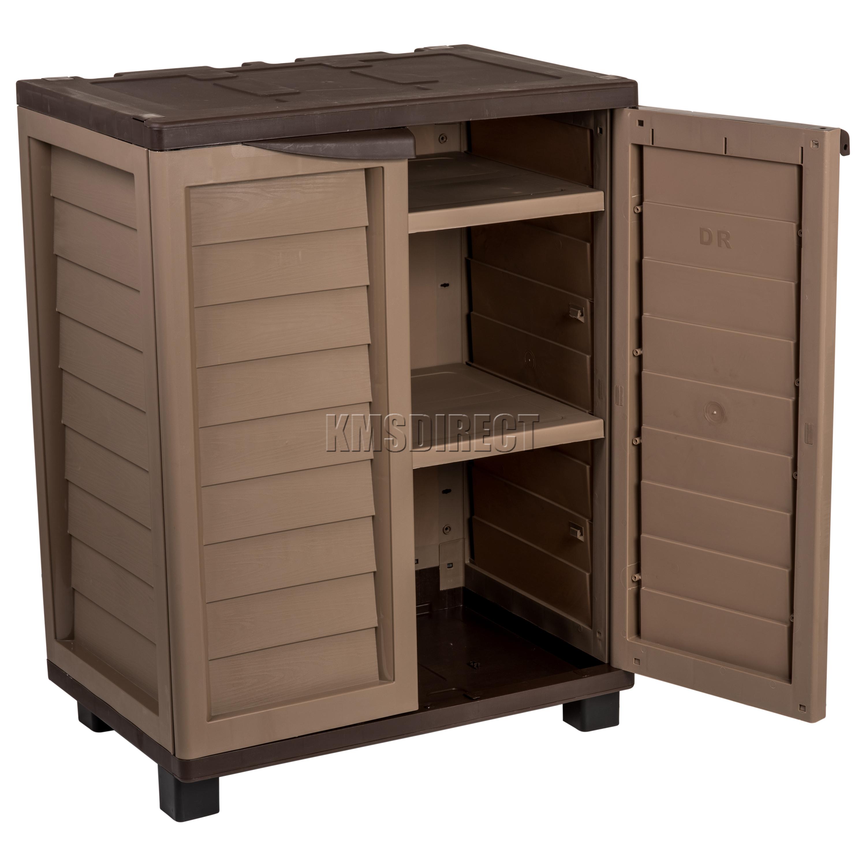 Starplast Outdoor Plastic Garden Utility Cabinet With 2 Shelves Storage Garage
