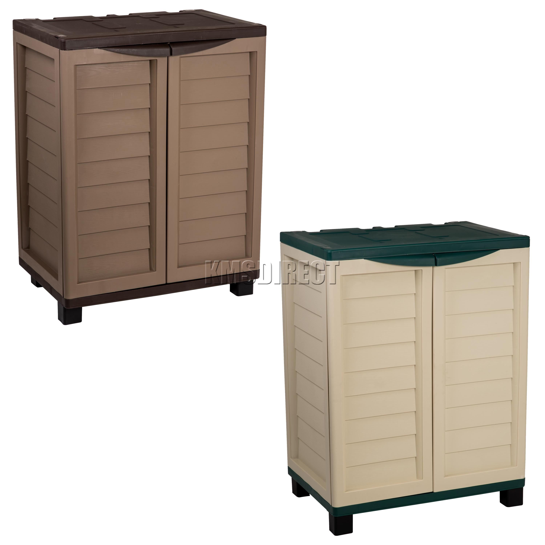 Starplast Outdoor Plastic Garden Utility Cabinet With 2 Shelves Storage Garage Ebay