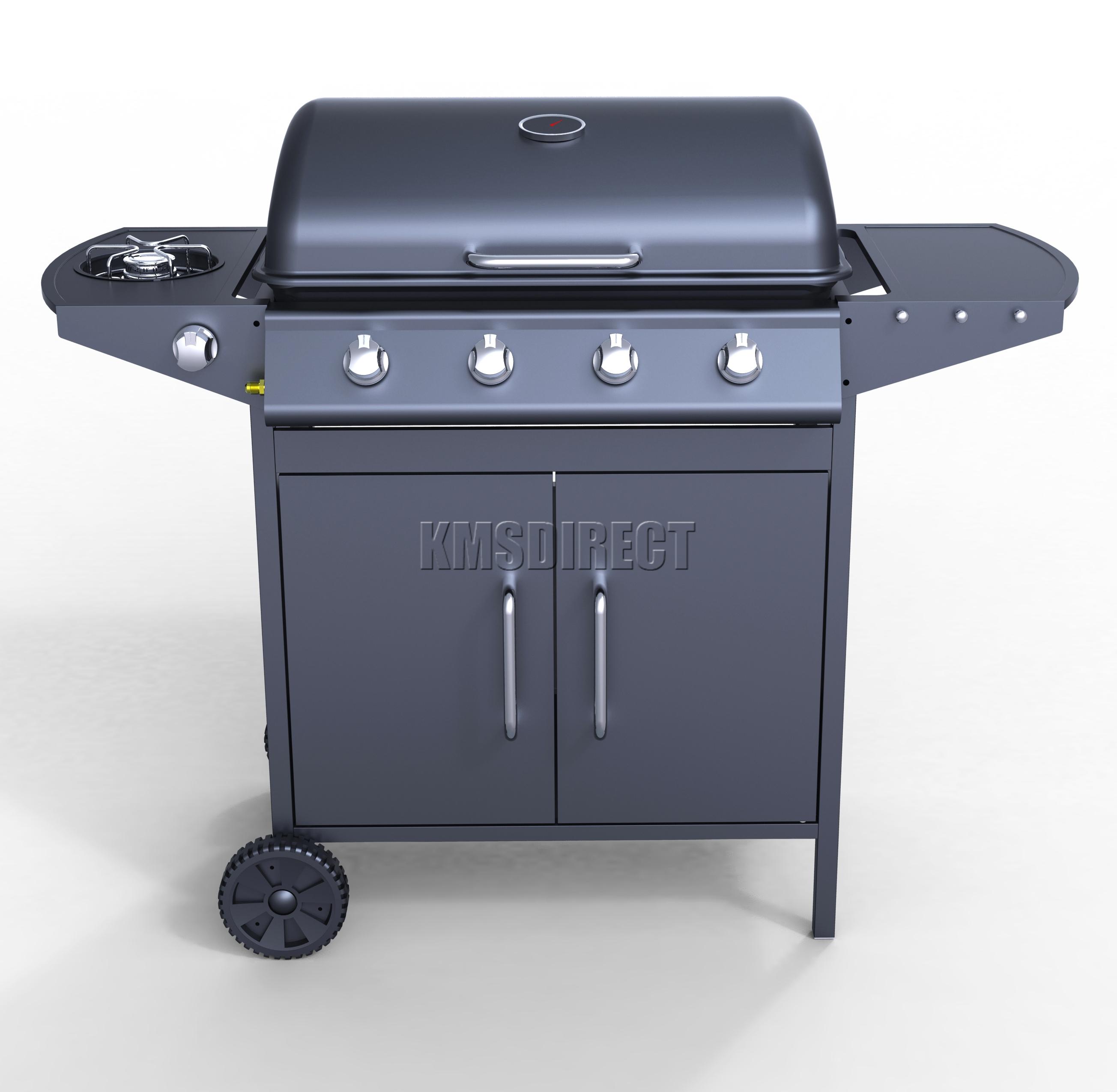 Foxhunter burner bbq gas grill black steel barbecue