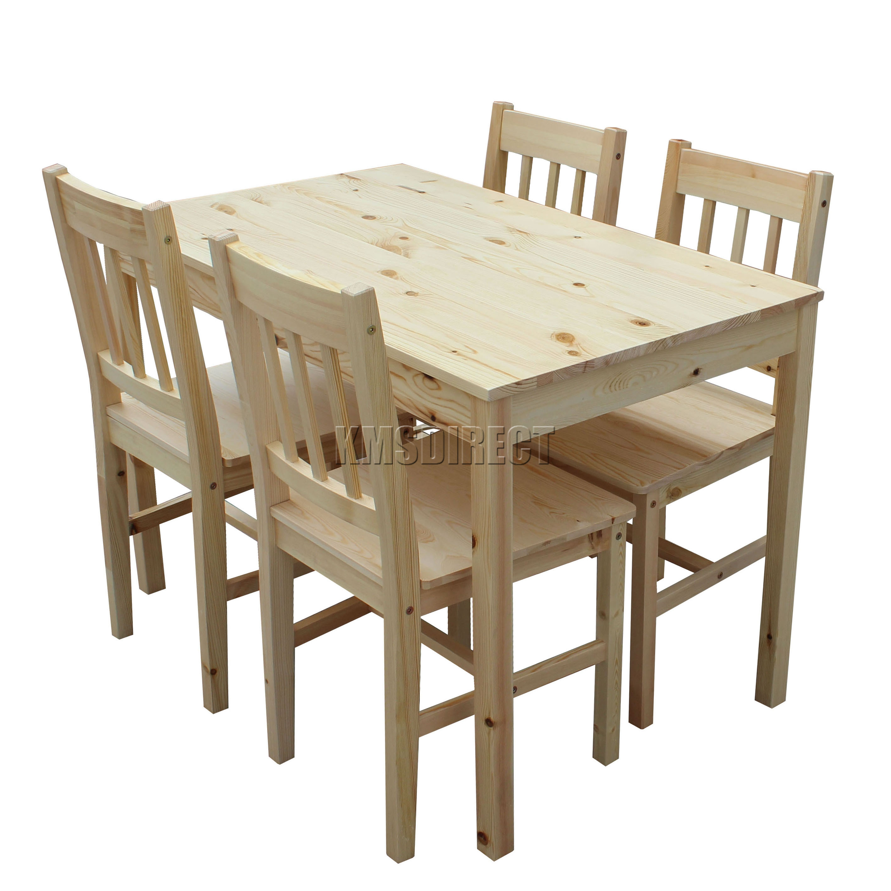 Foxhunter quality solid wooden dining table and 4 chairs for Wood dining table set