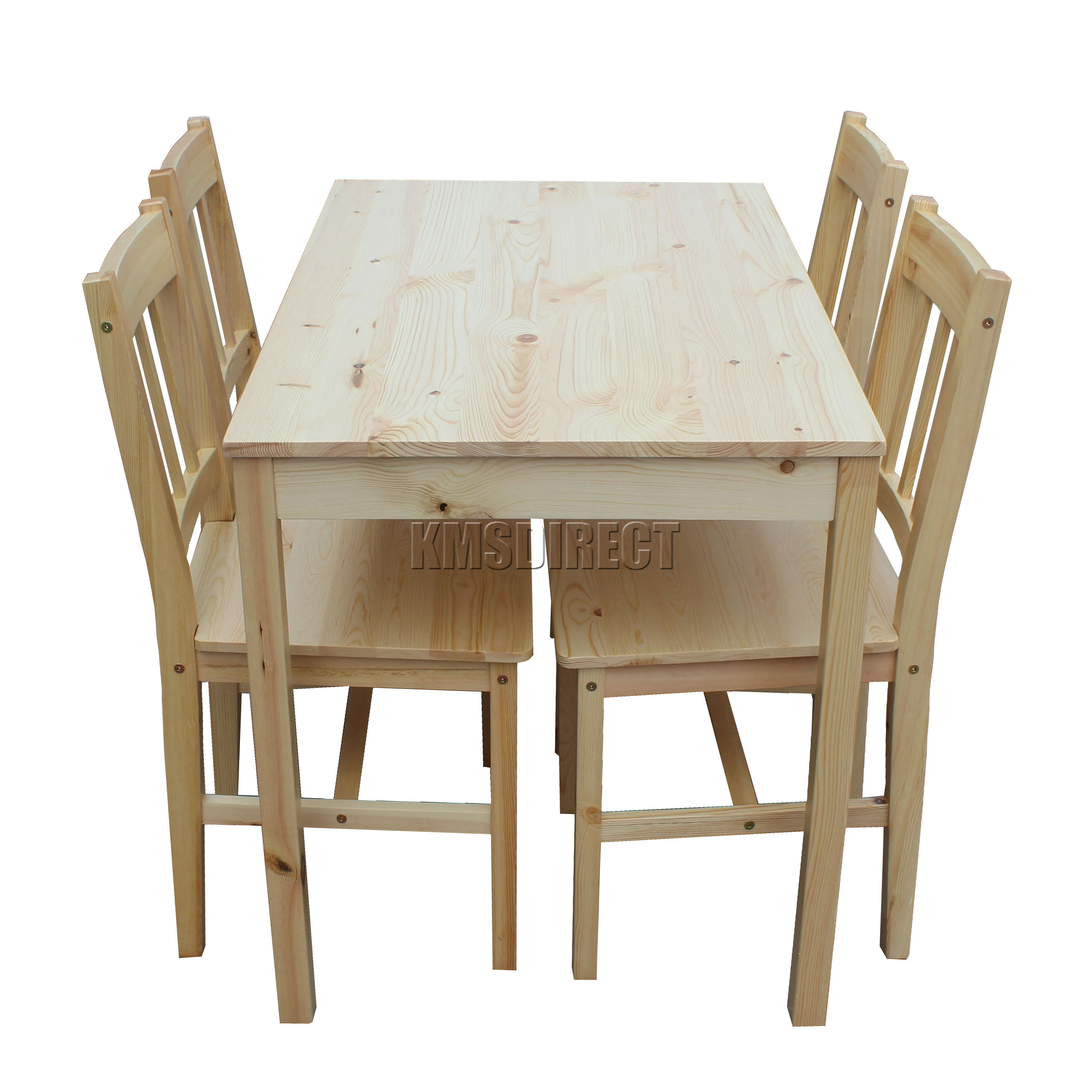 foxhunter quality solid wooden dining table and 4 chairs set kitchen