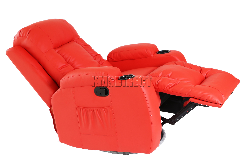 FoxHunter Leather Massage Cinema Recliner Chair Sofa Swivel