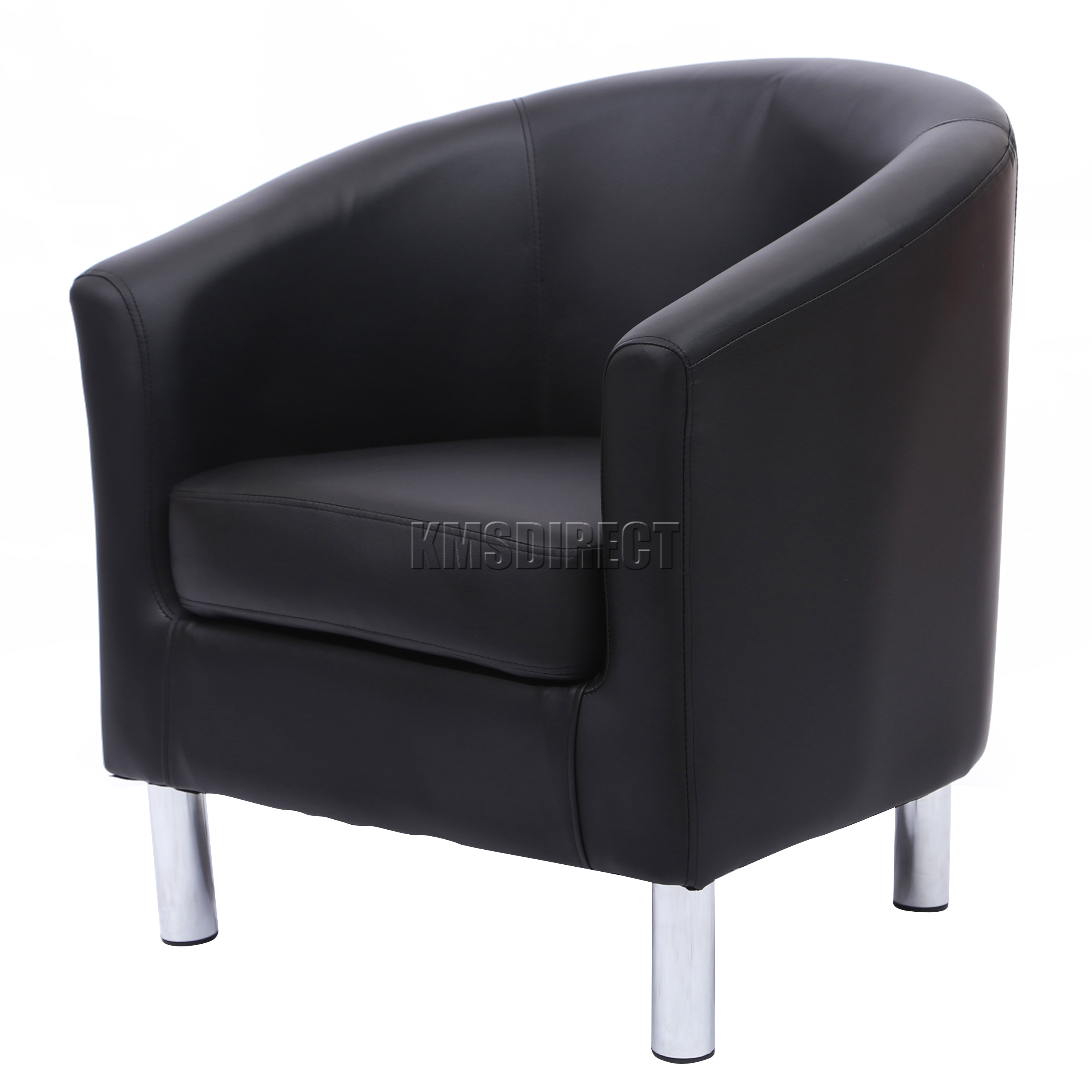 foxhunter modern tub chair armchair pu faux leather with chrome leg dining black ebay. Black Bedroom Furniture Sets. Home Design Ideas