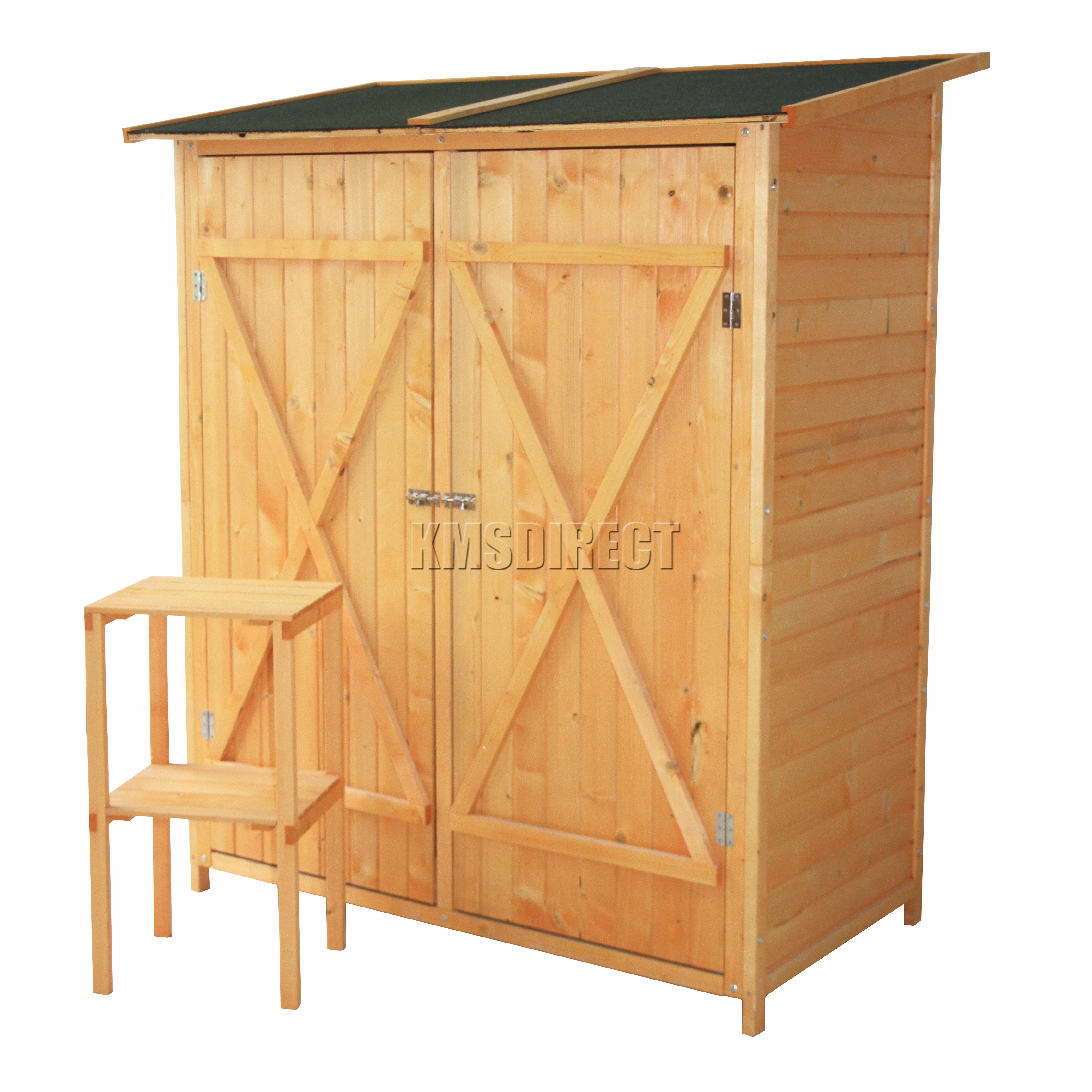 details about foxhunter garden tool shed wood tool storage chest pent