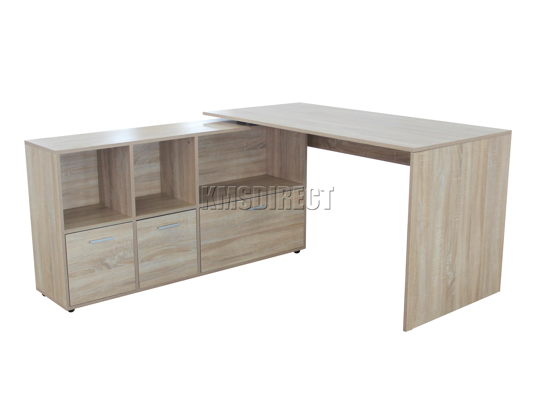 Foxhunter Pc Computer Desk Corner Wooden Desktop Table Cabinet  # Table Ordi En Bois
