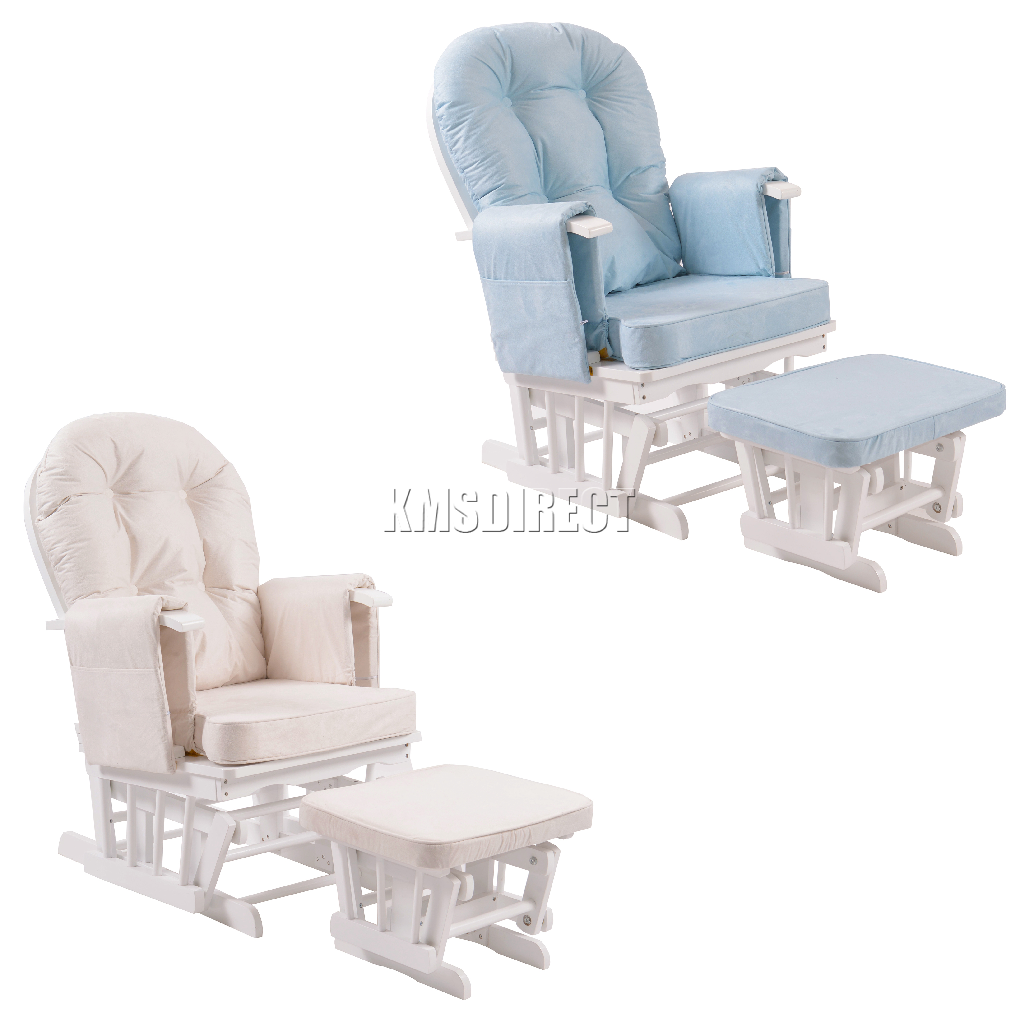 Gliding chair mechanism - Foxhunter Nursing Glider Maternity Rocking Chair With Stool White Wood Frame New