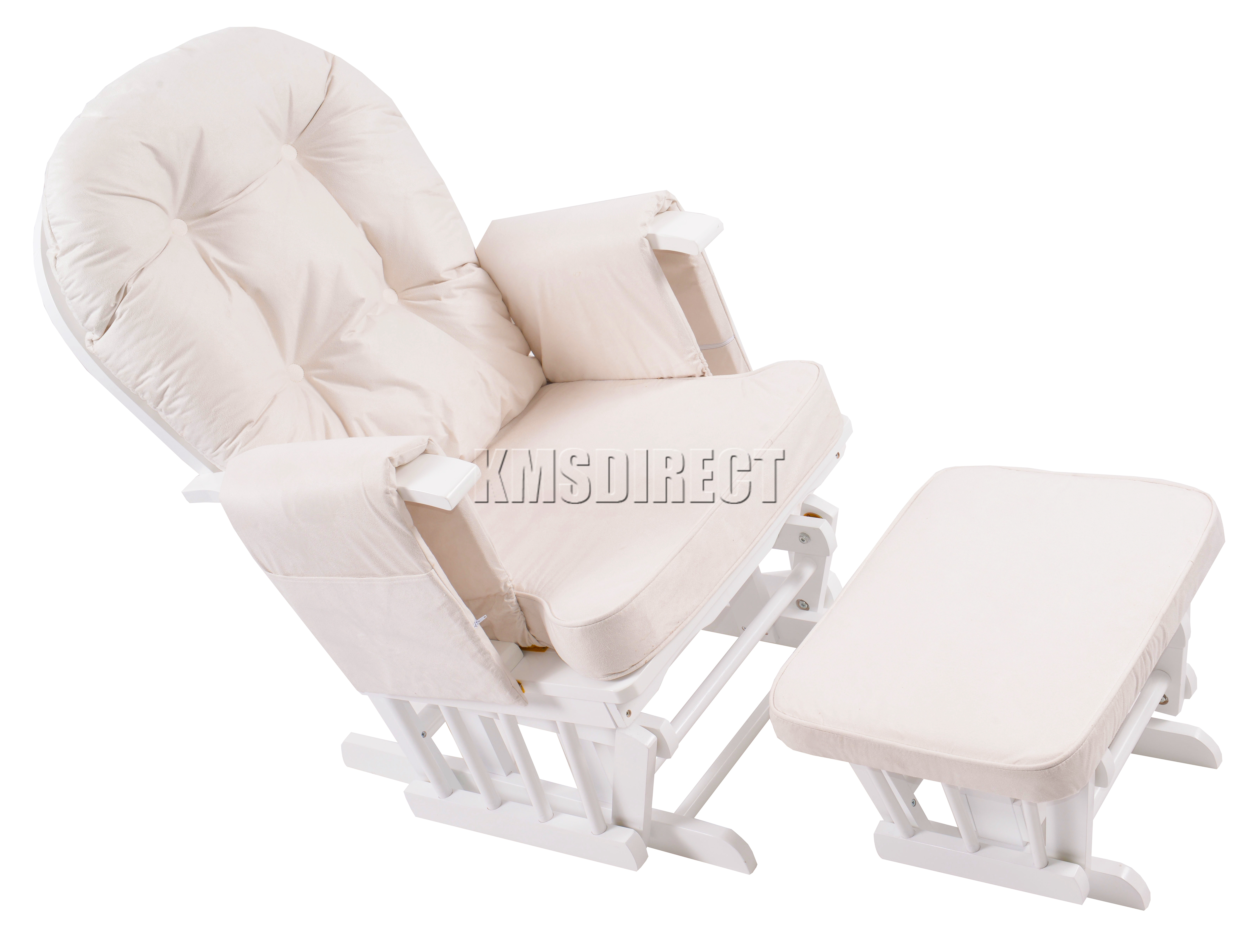 FoxHunter Nursing Glider Maternity Rocking Chair With Stool White Wood Frame