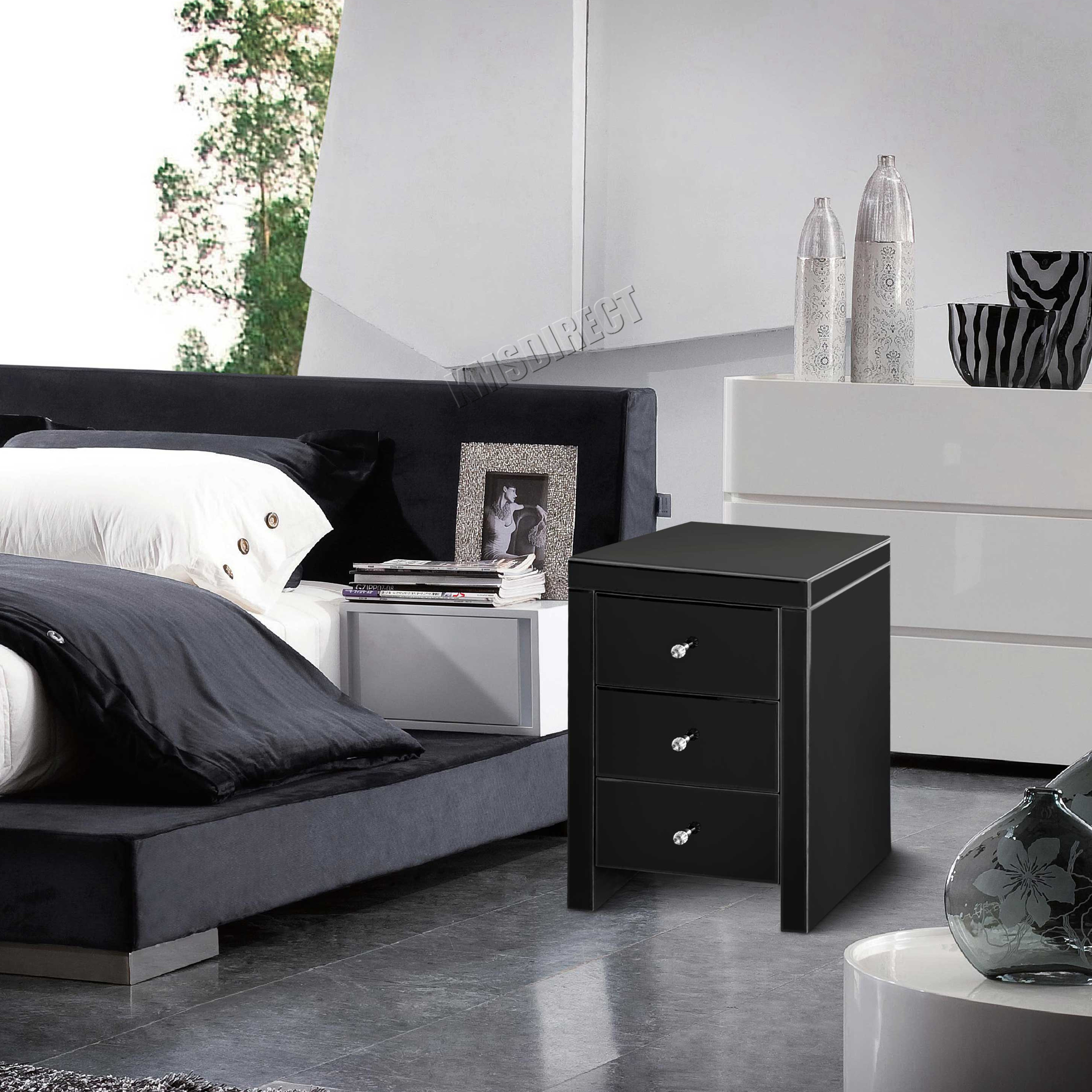 Mirrored Cabinets Bedroom Foxhunter Mirrored Furniture Glass Bedside Cabinet Table With