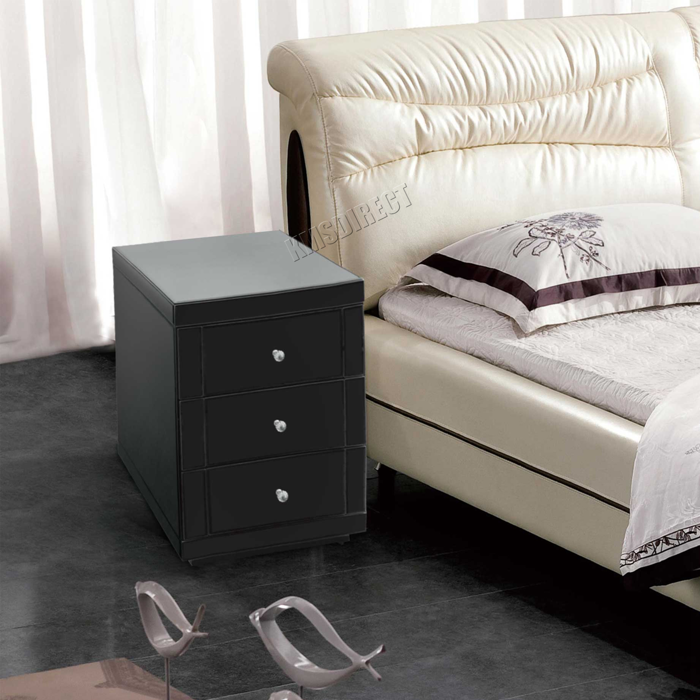 Mirror Furniture Bedroom Foxhunter Mirrored Furniture Glass Bedside Cabinet Table With