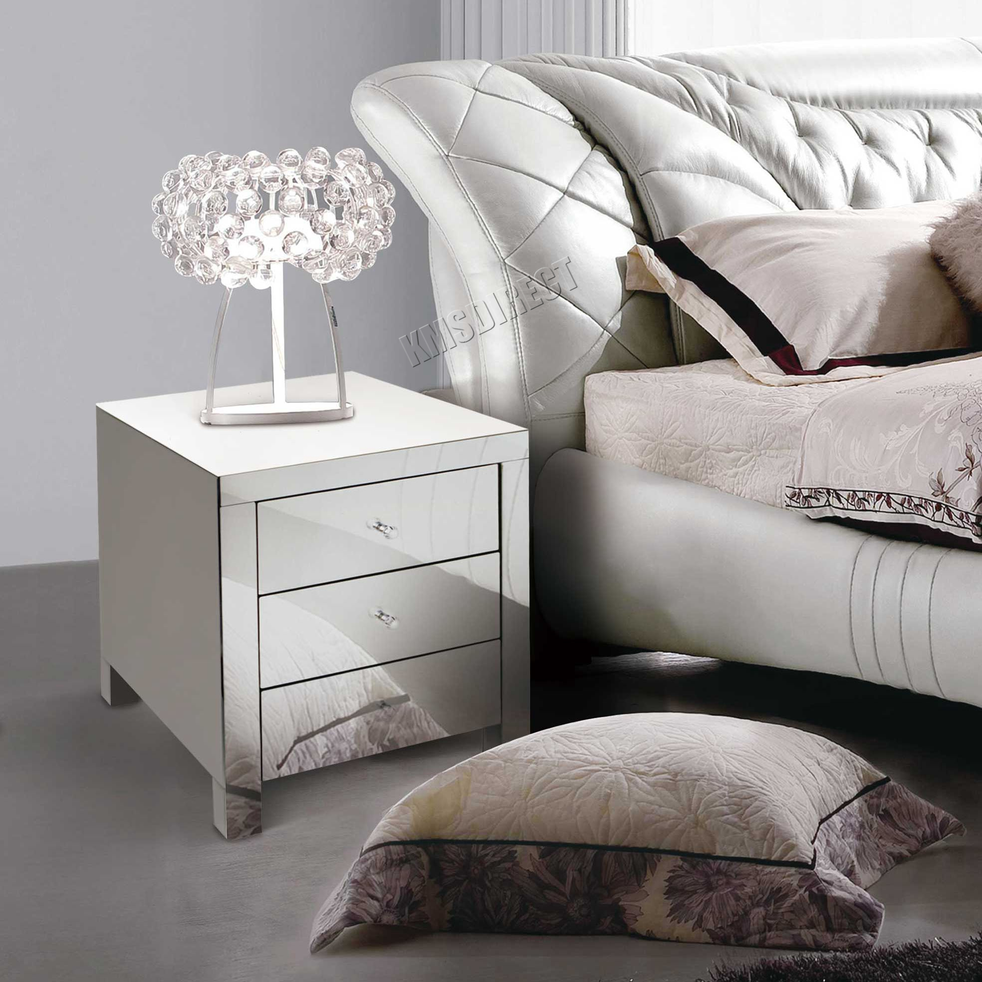 Mirrored Furniture Bedroom Foxhunter Mirrored Furniture Glass Bedside Cabinet Table With