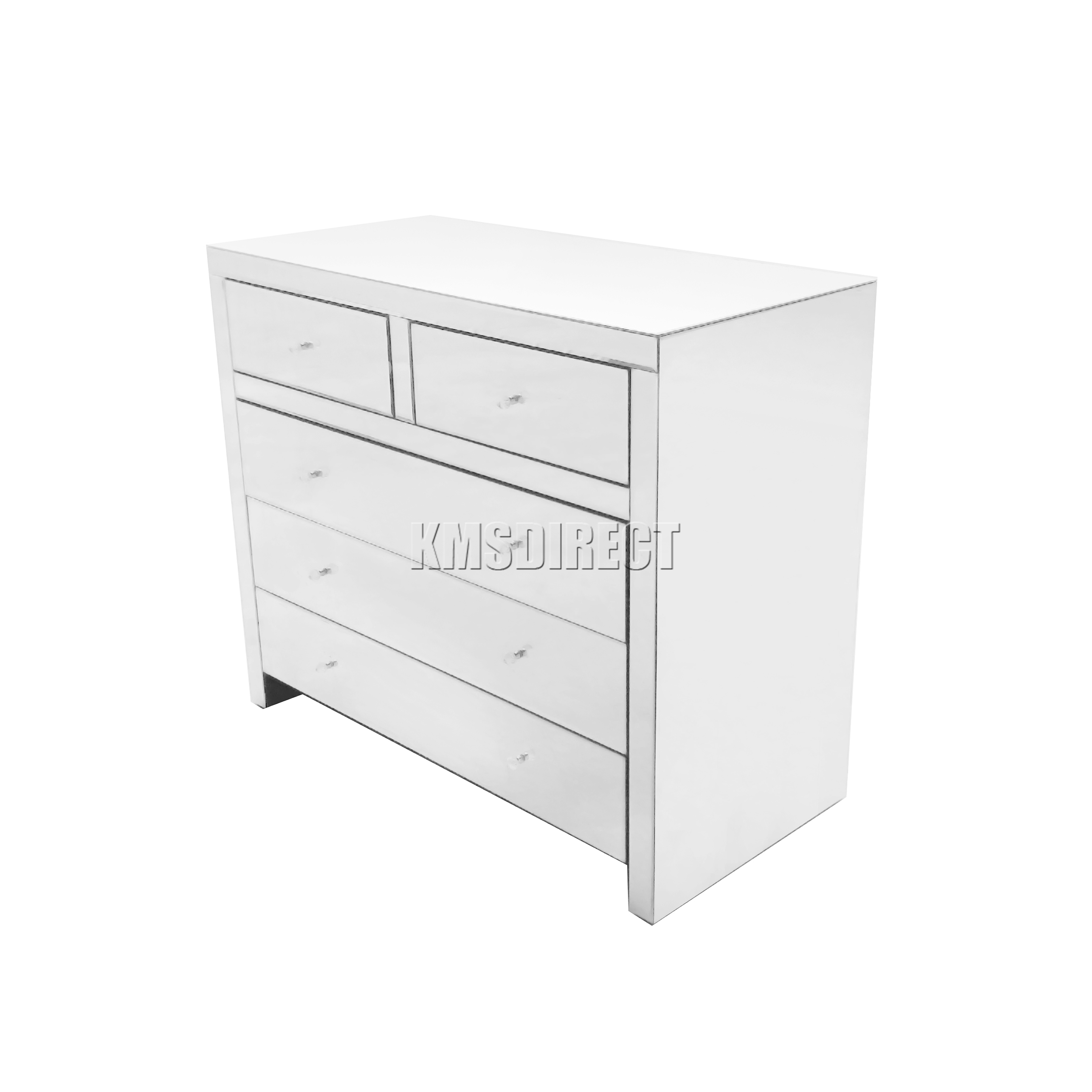 Foxhunter Mirrored Furniture Glass 2 Over 3 Drawer Chest Cabinet Bedroom Mc04 Ebay