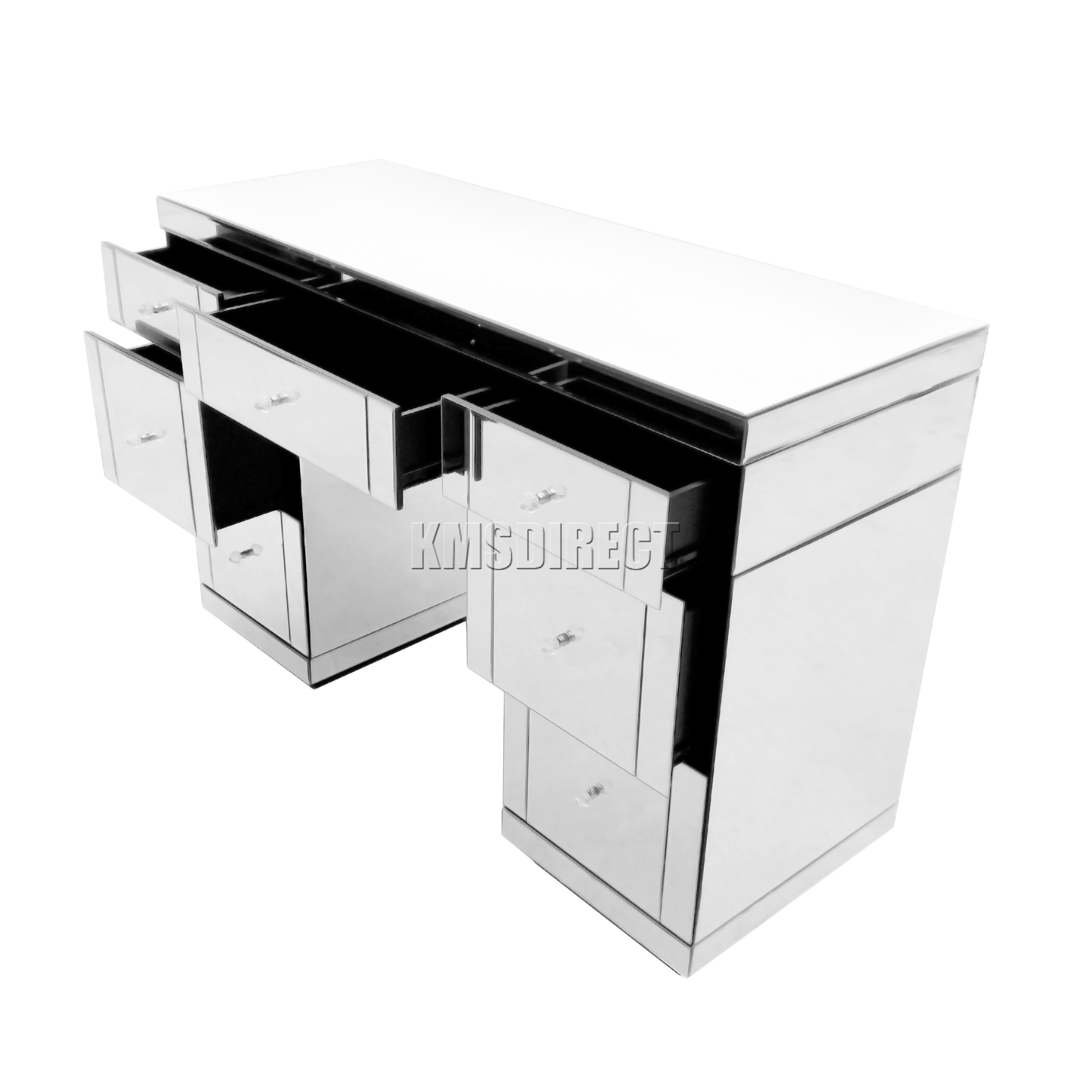 Mirrored Furniture Foxhunter Mirrored Furniture Glass 7 Drawer Dressing Table Console
