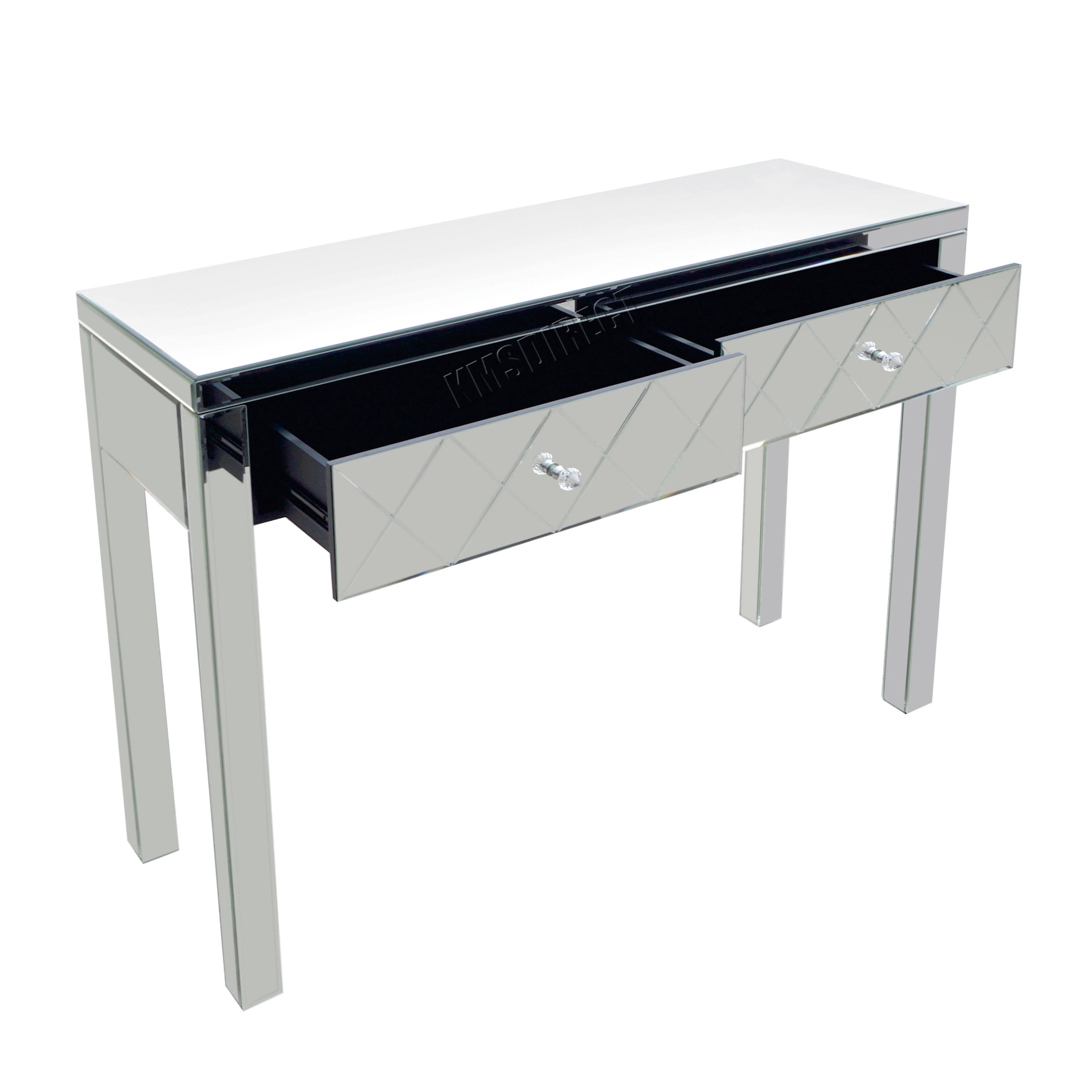 Glass console table with mirror - Foxhunter Mirrored Furniture Glass Dressing Table With Drawer