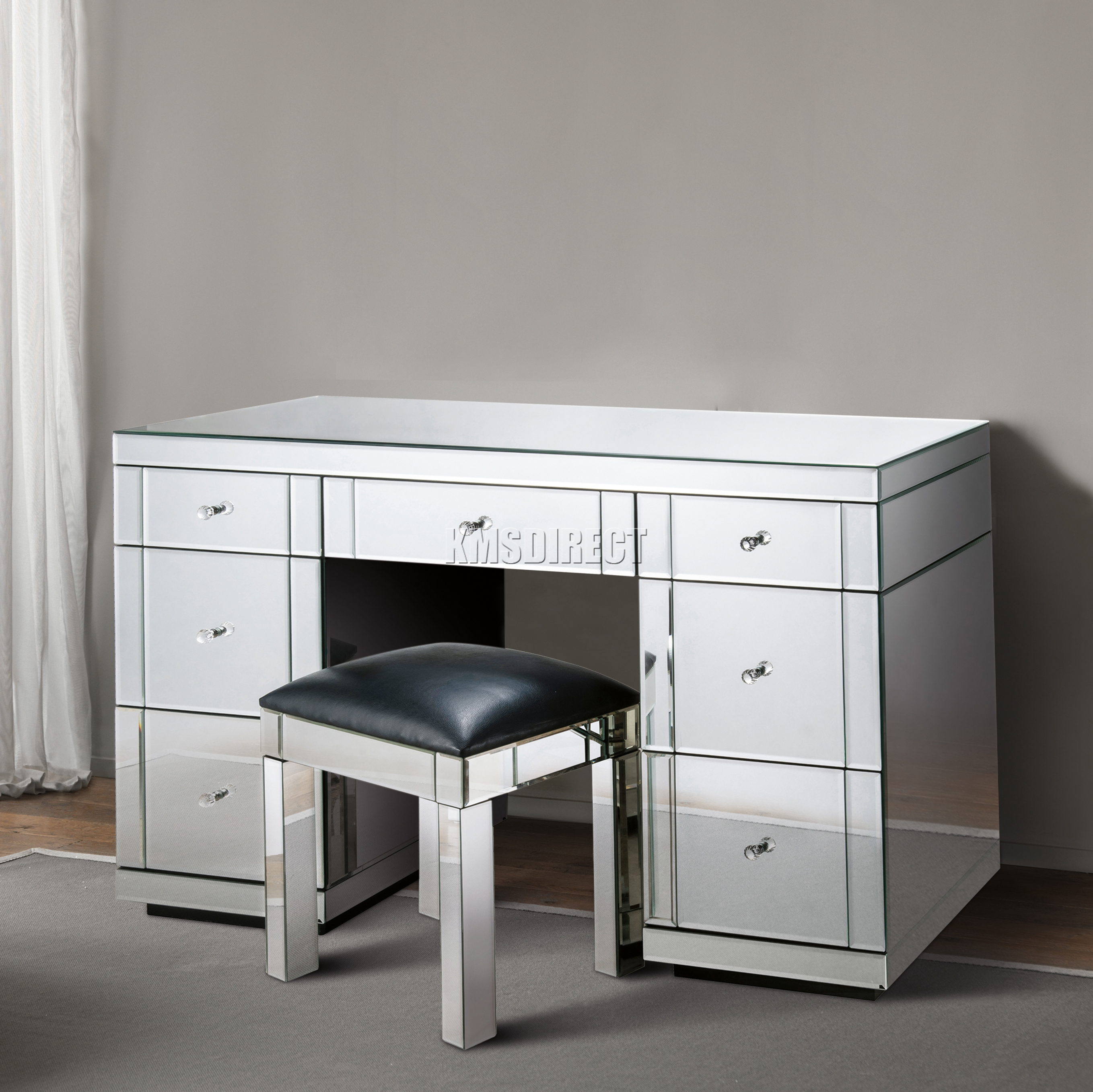 Mirrored Furniture For Bedroom Foxhunter Mirrored Furniture Glass Dressing Table With Drawer