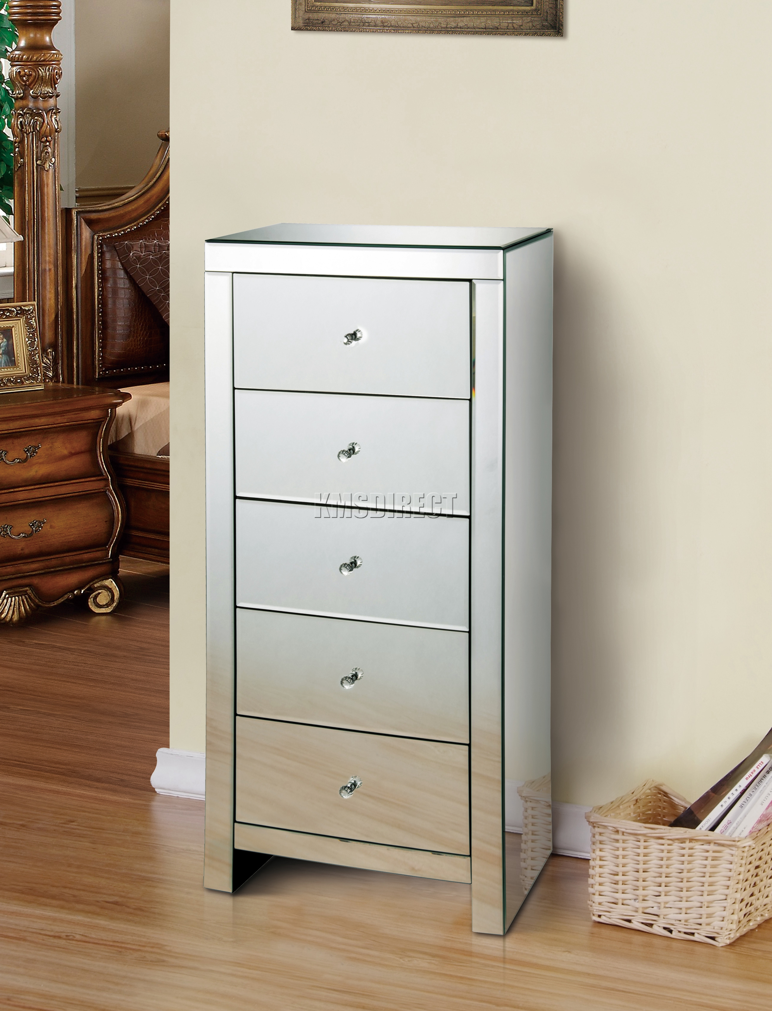 Mirrored Furniture Foxhunter Mirrored Furniture Glass 5 Drawer Tallboy Chest Cabinet