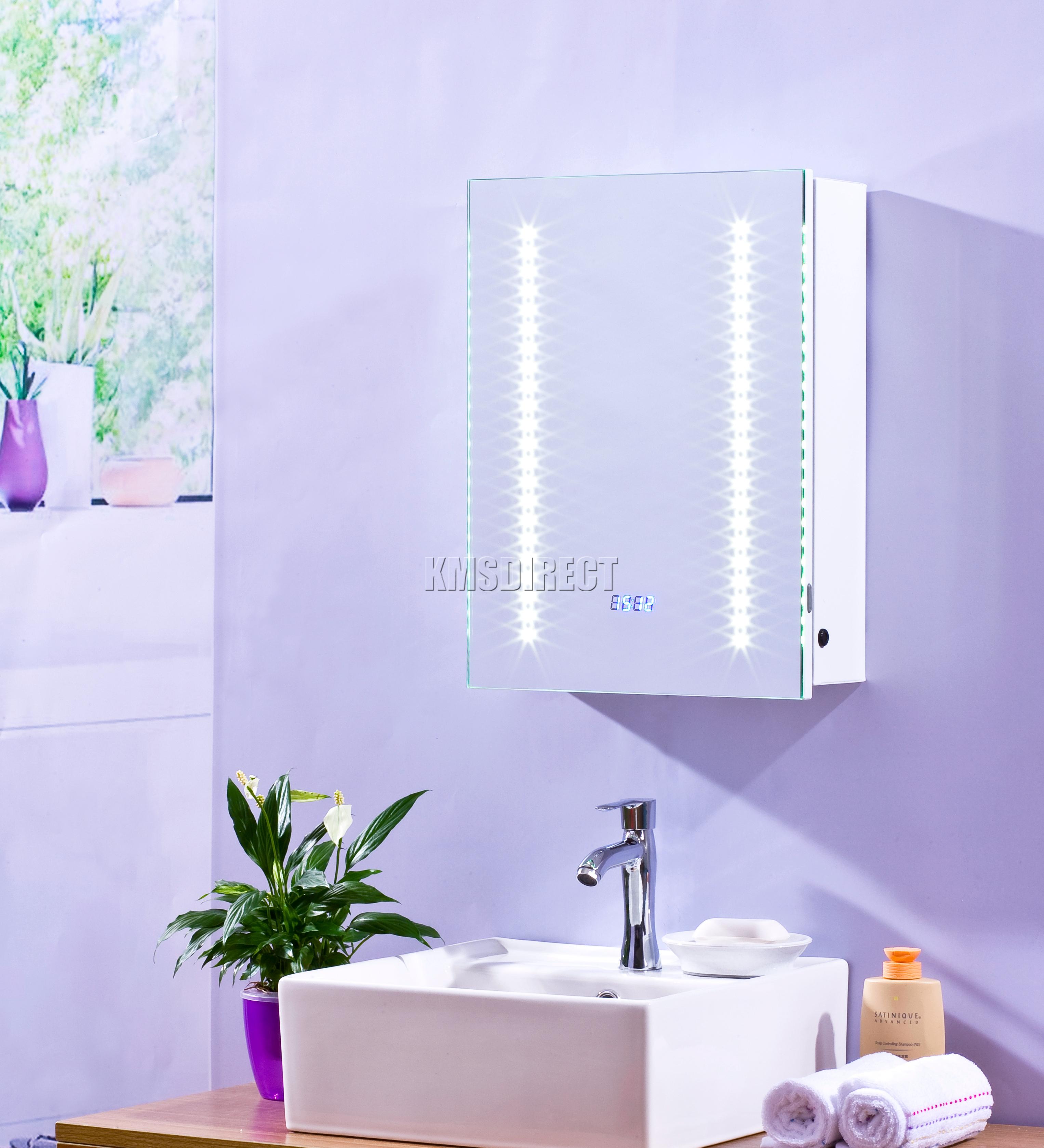 Foxhunter 1 puerta iluminado con luces led espejo gabinete for Gabinete de almacenamiento de bano barato