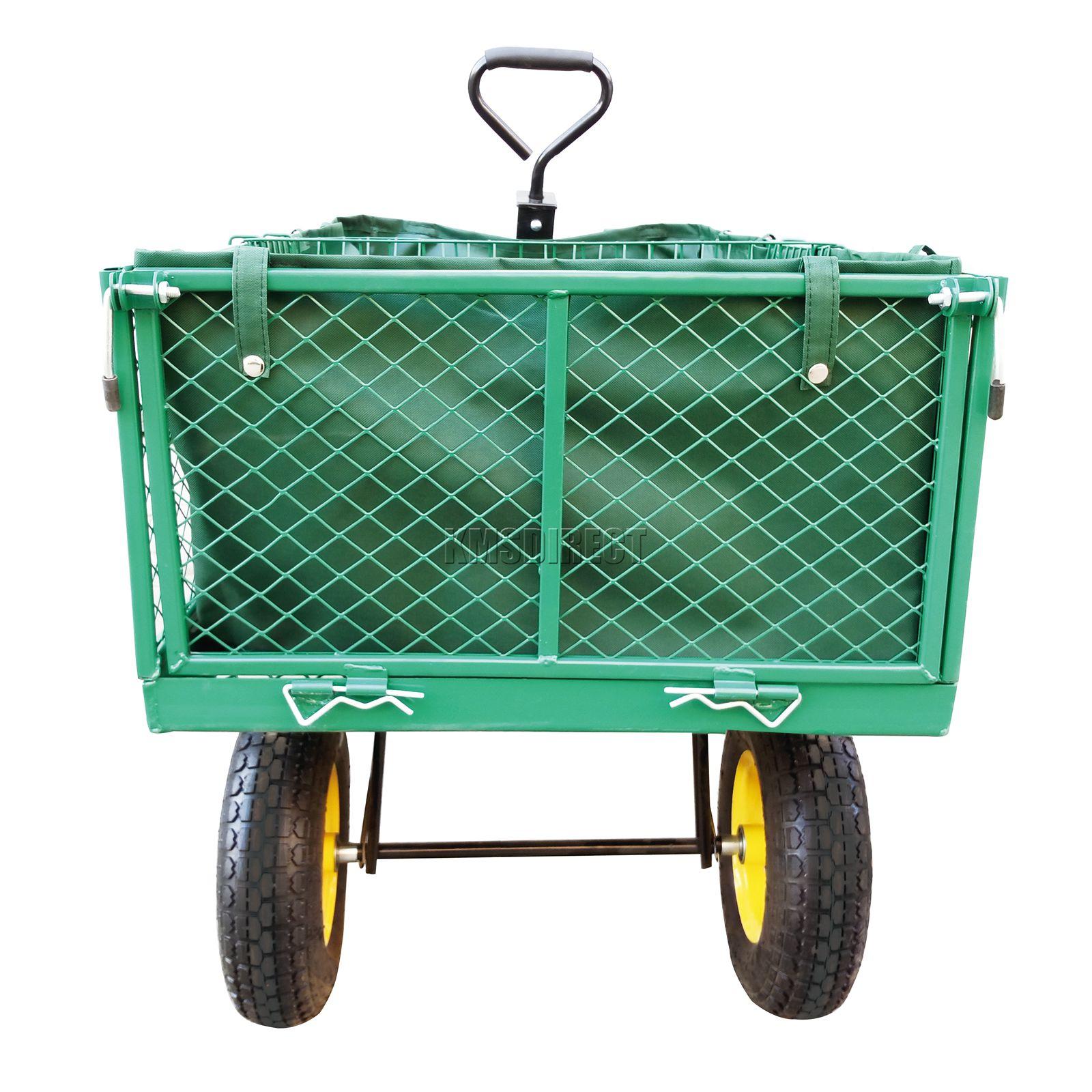 Foxhunter heavy duty jardin camion benne remorque basculante chariot panier brouette