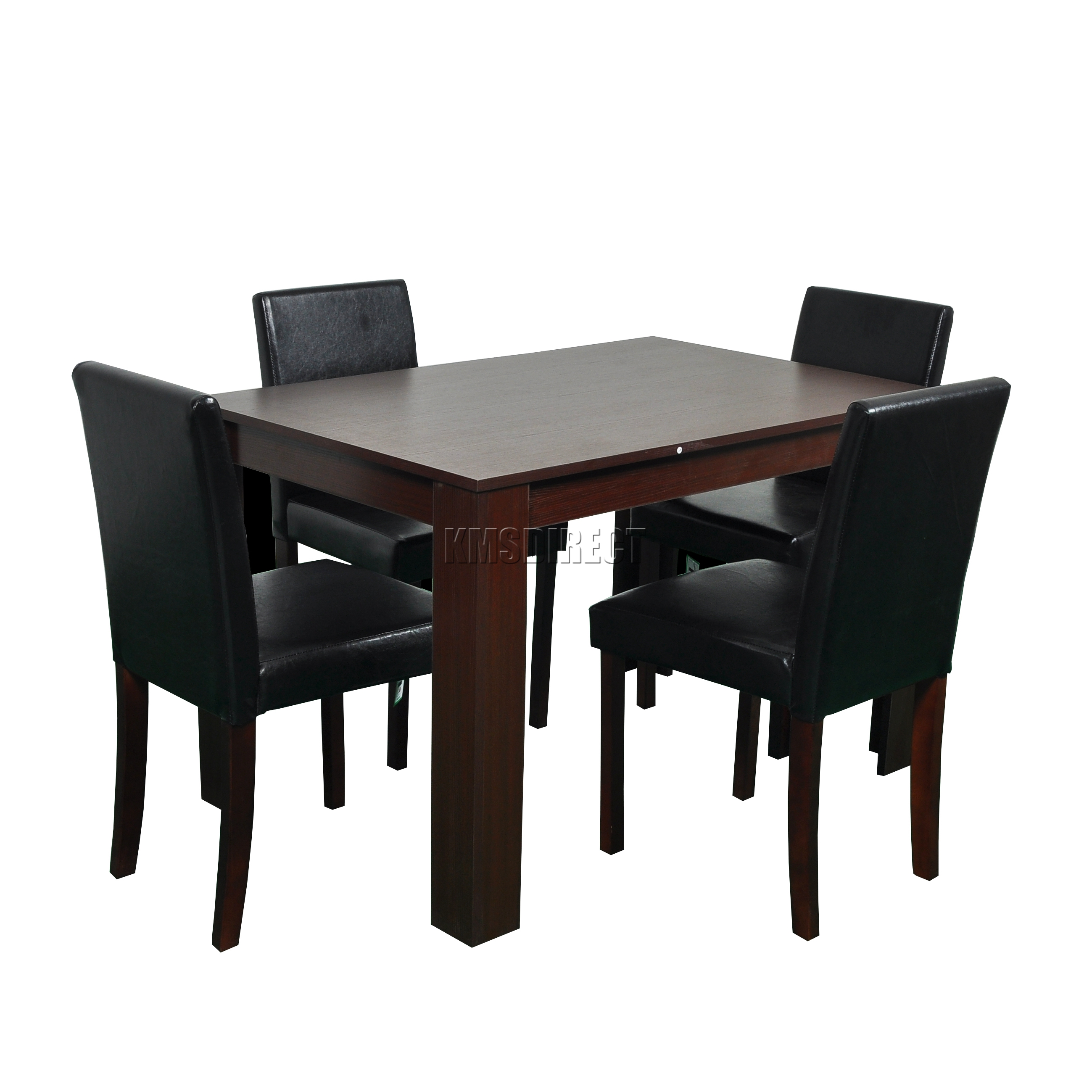 FoxHunter Wooden Dining Table And 4 PU Faux Leather Chairs Set Furniture Waln