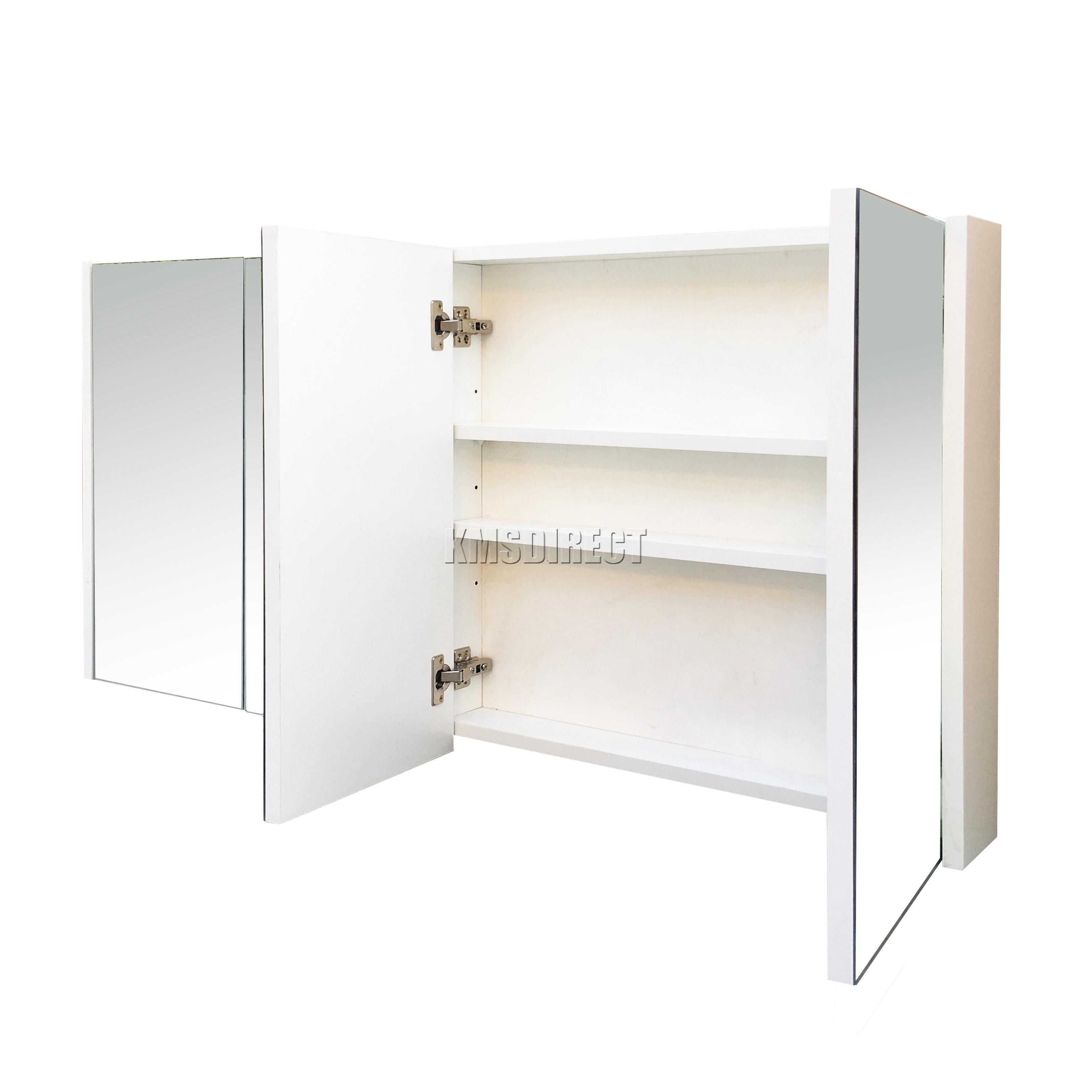 Foxhunter Triple 4 Door Wall Mount Mirror Bathroom Cabinet Storage Cupboard Bc03 Ebay