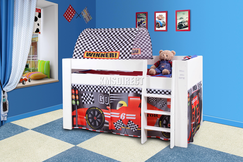 FoxHunter Wooden Mid Sleeper Cabin Bunk Bed Kids Tent ...