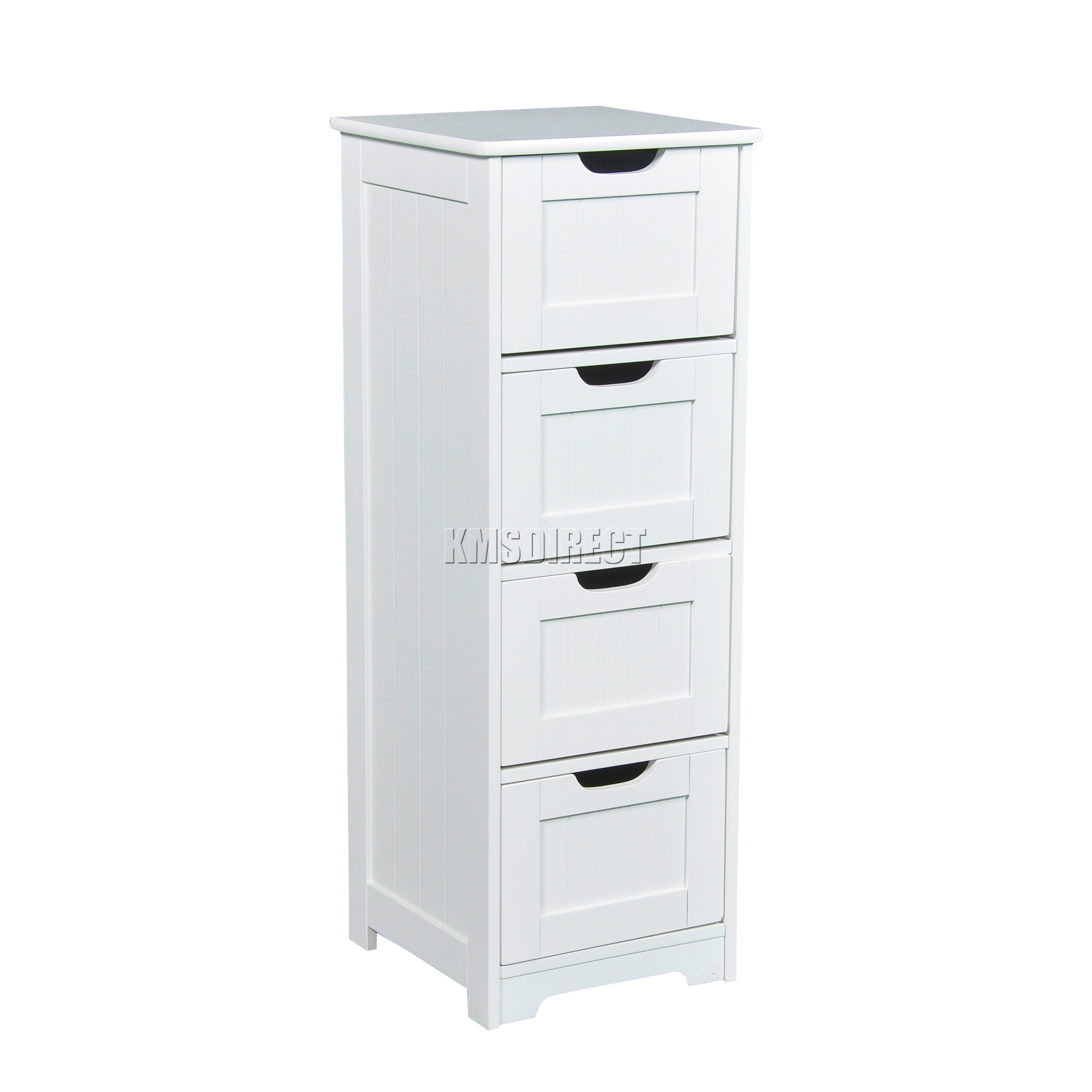 Foxhunter white wooden 4 drawer bathroom storage cupboard for White wooden bathroom drawers