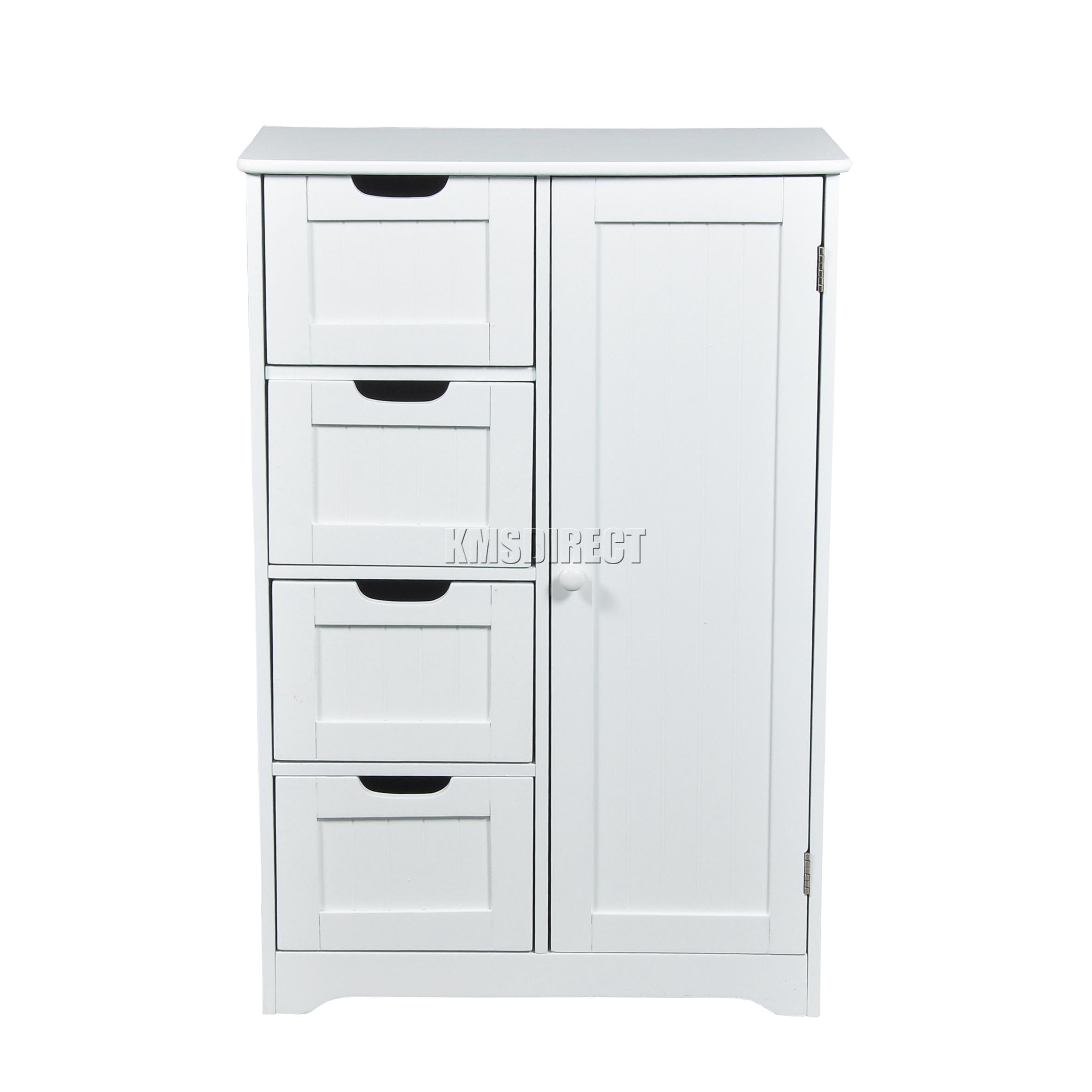 4 Drawer Bathroom Cabinet - Sentinel foxhunter white wooden 4 drawer bathroom storage cupboard cabinet standing unit