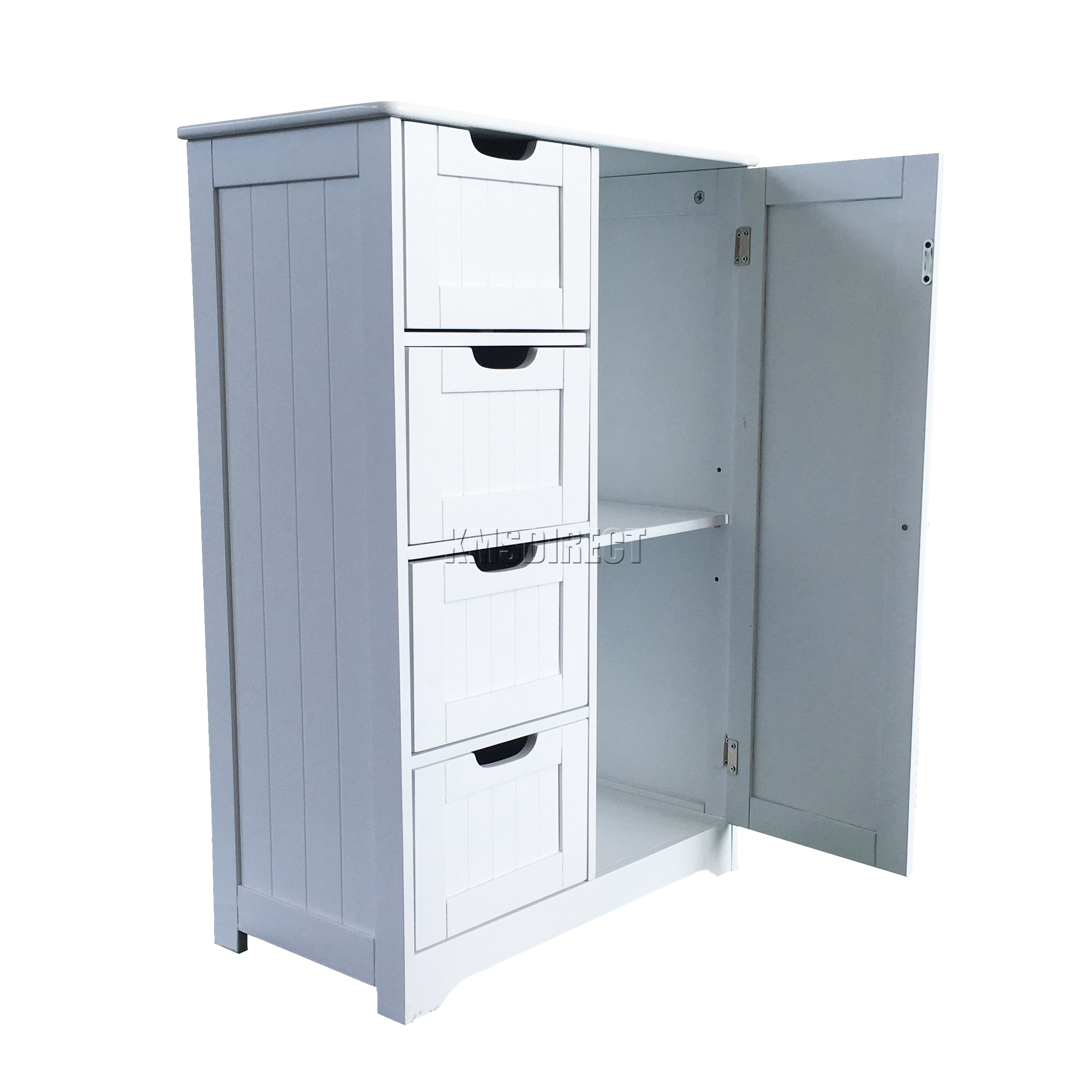 Foxhunter white wooden 4 drawer bathroom storage cupboard Bathroom storage cabinet with drawers