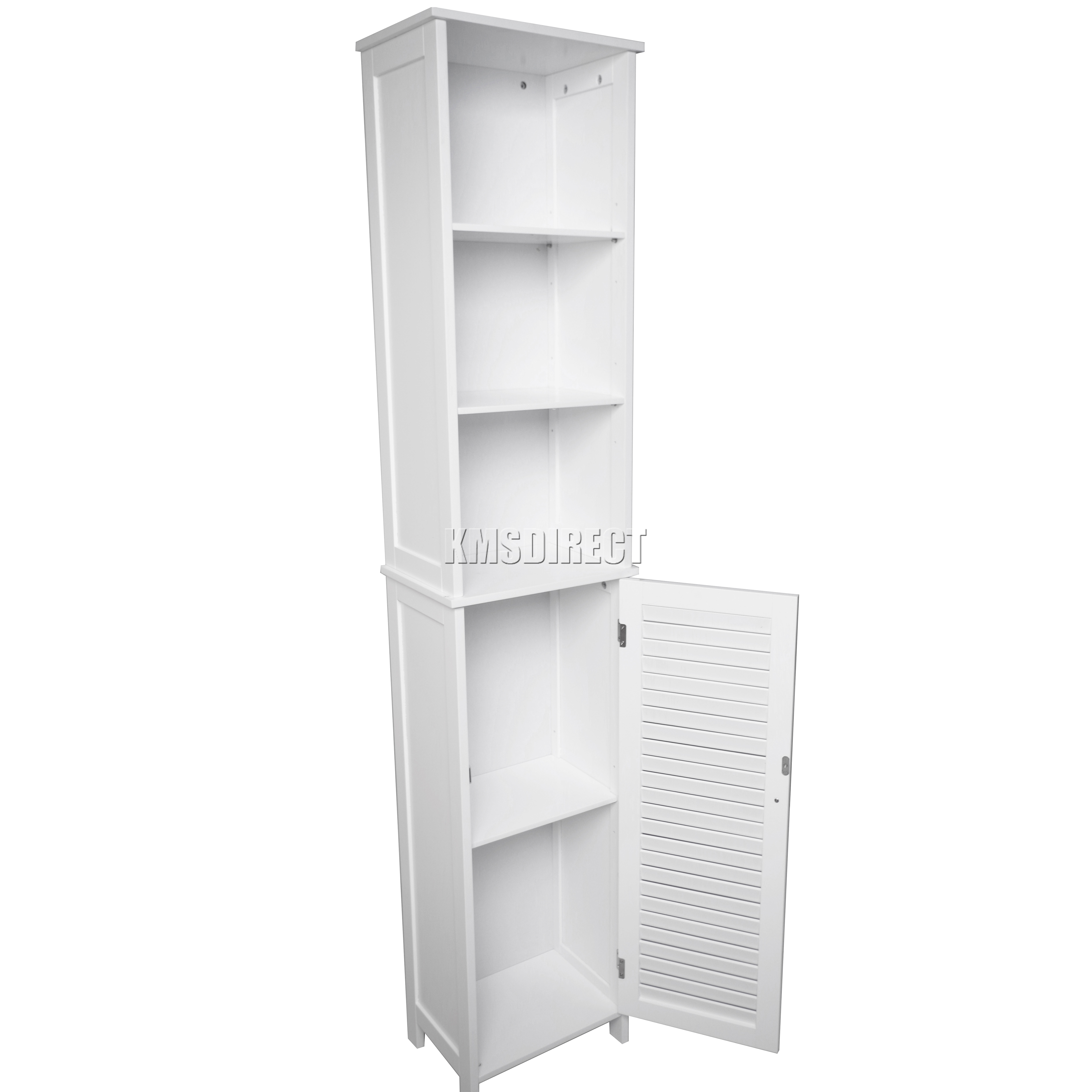 FoxHunter Wall Mount Wooden Bathroom Cabinet Tall Shelving Unit Storage Cupboard