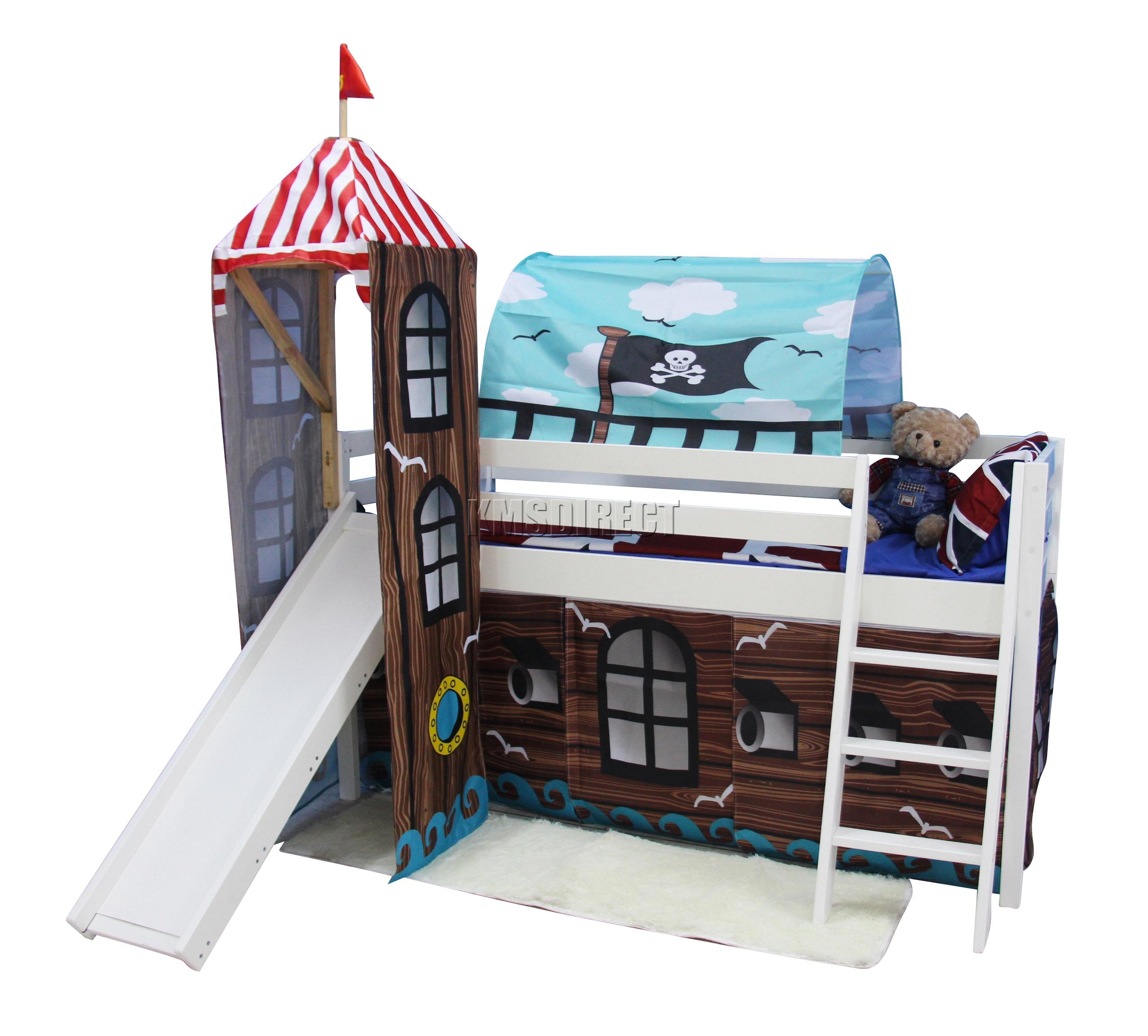 Riparo a soppalco in legno cabina letto a castello bambini scivolo tenda torre 3 ft ca m - Letto castello scivolo ...