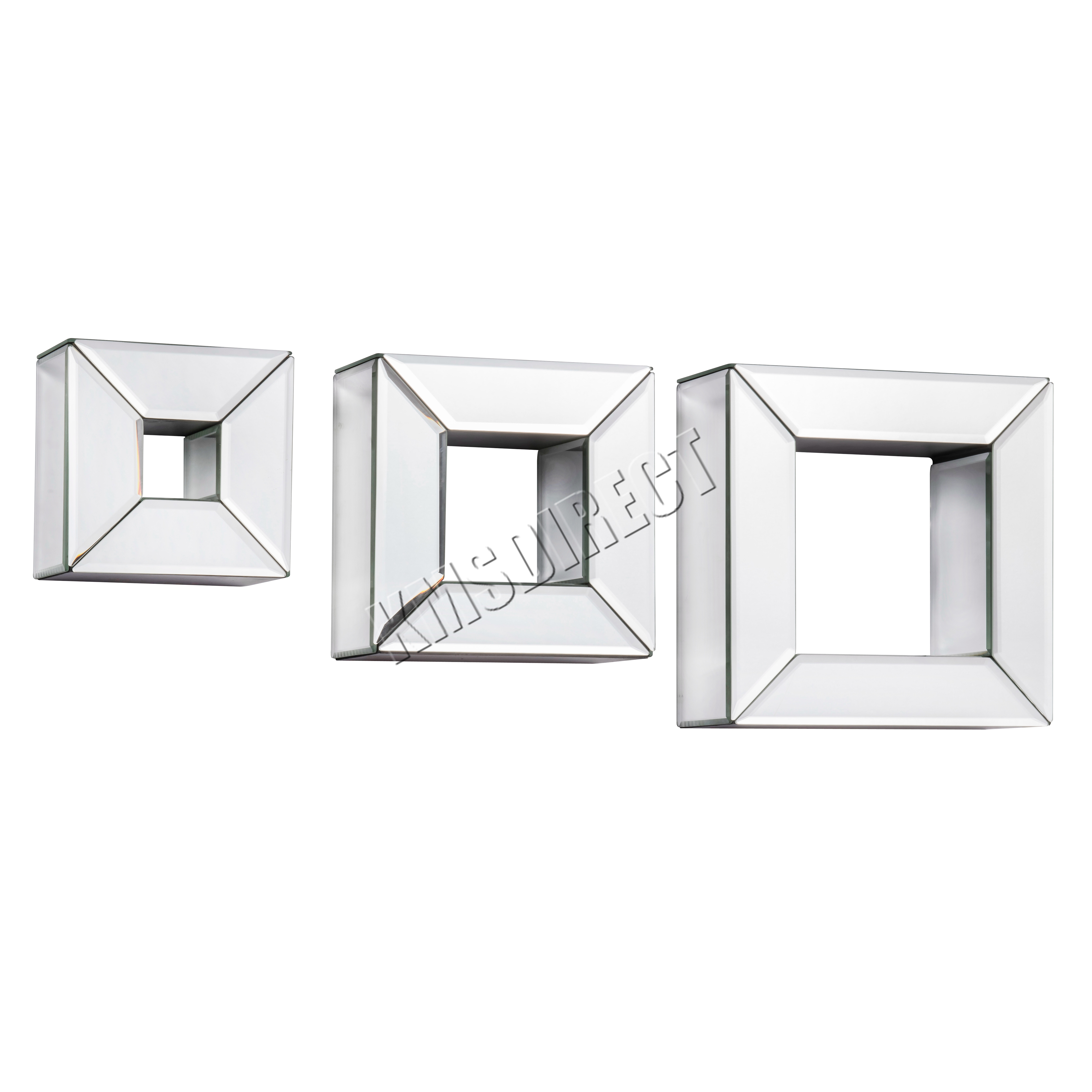 Foxhunter bevelled mirrored furniture glass floating for Mirrored box shelves