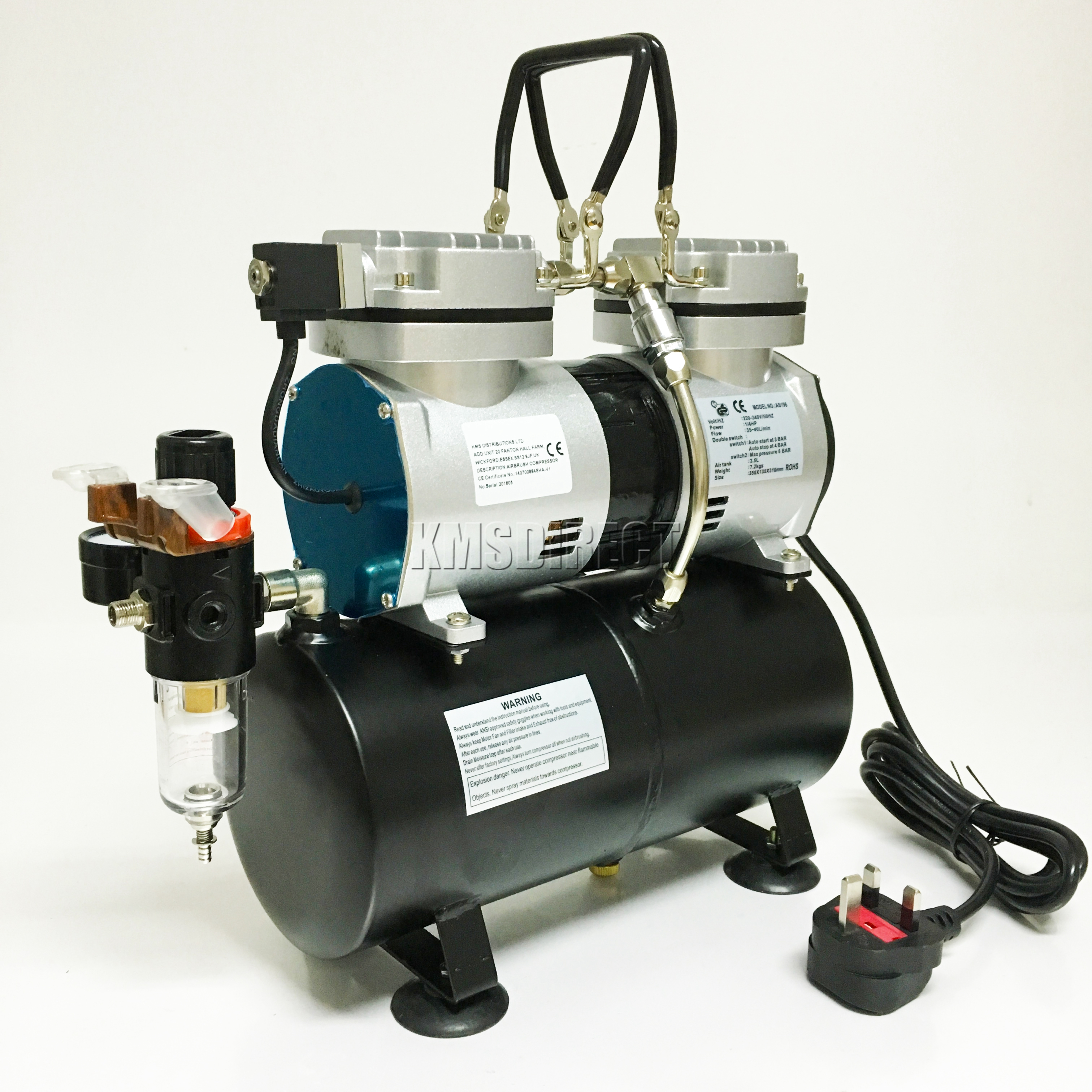 Foxhunter airbrush kit as196 with twin compressor with for Air compressor for auto painting