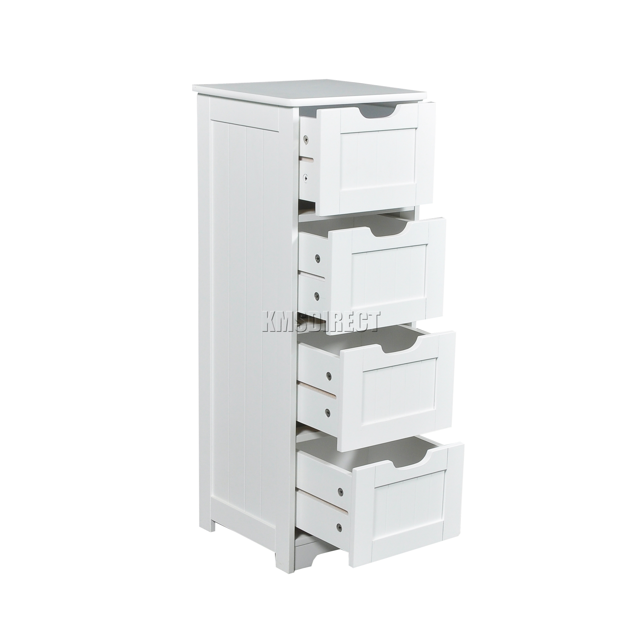 Foxhunter White Wooden 4 Drawer Bathroom Storage Cupboard Cabinet Organizer Unit Ebay