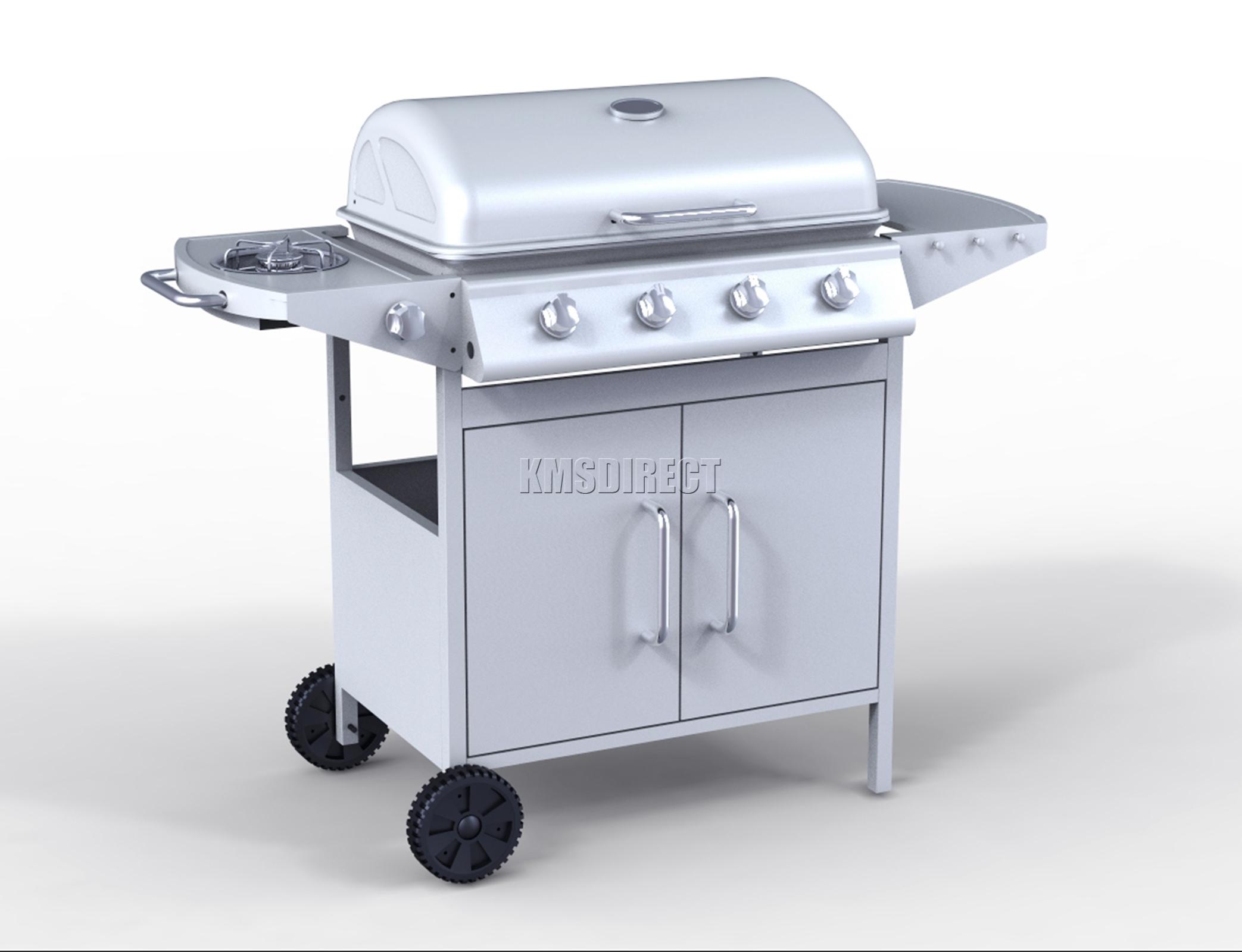 Foxhunter burner bbq gas grill silver steel barbecue
