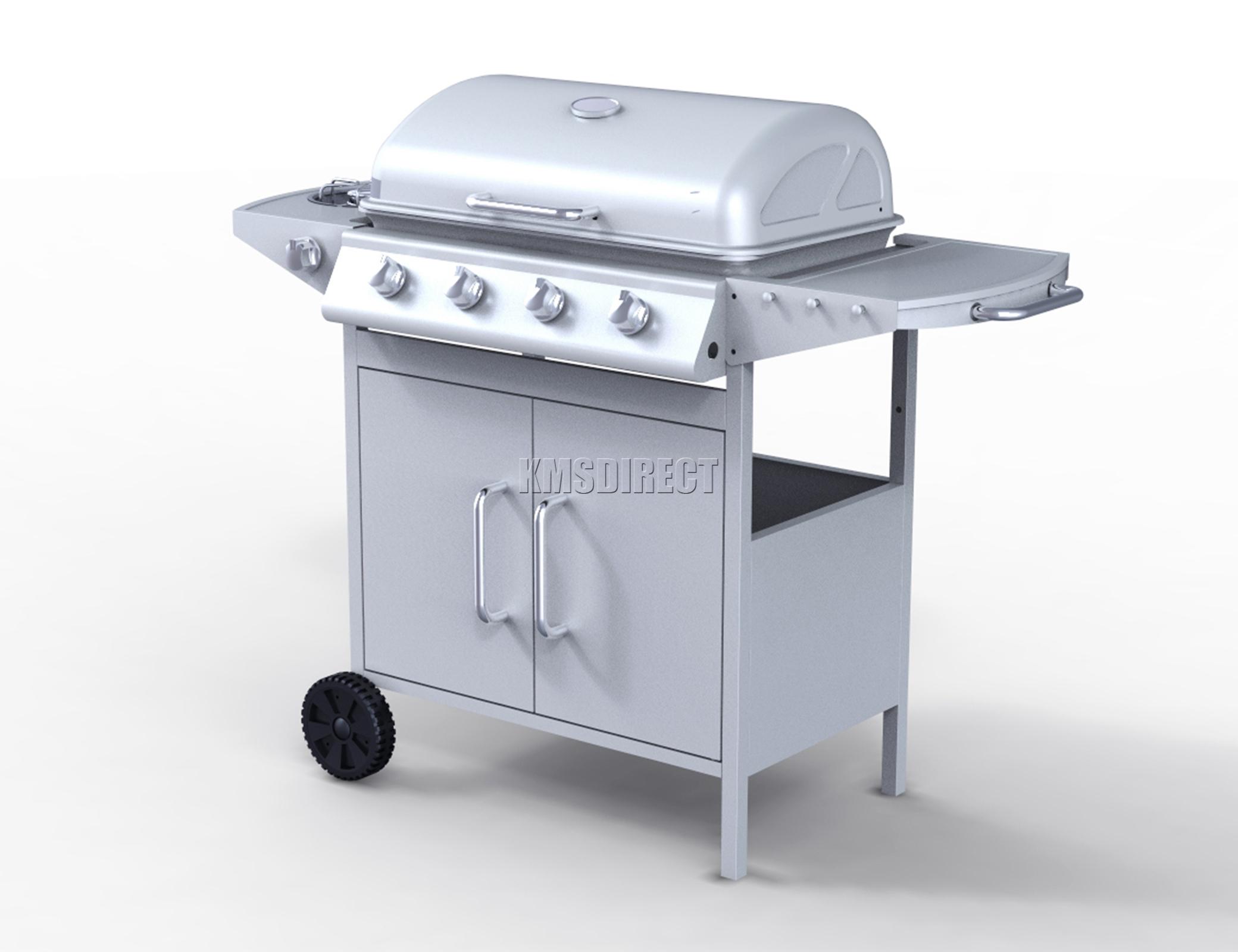 foxhunter 4 burner bbq gas grill silver steel barbecue 1 side garden g2087d ebay. Black Bedroom Furniture Sets. Home Design Ideas