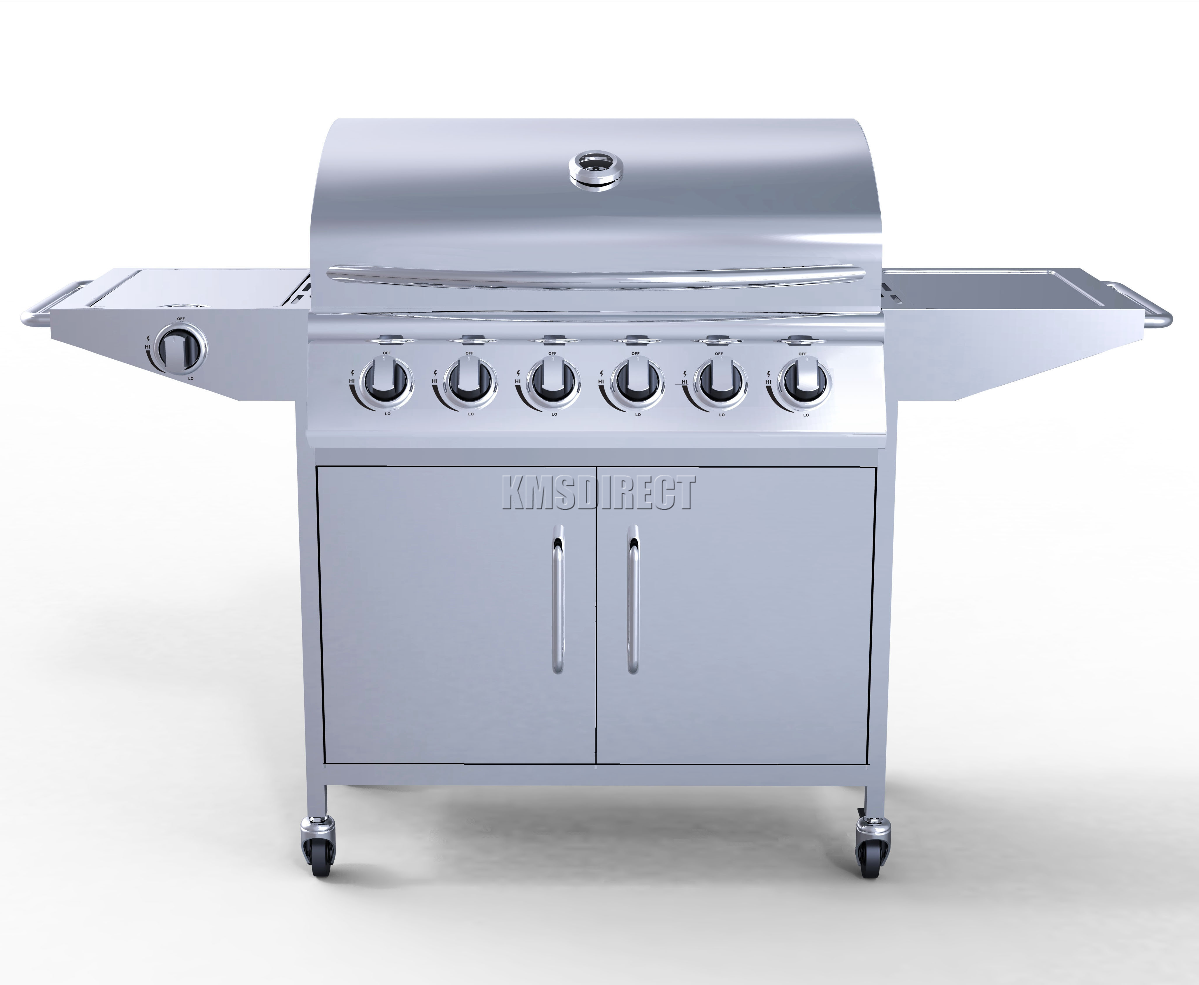 6 burner bbq gas grill stainless steel barbecue 1 side silver outdoor portable ebay. Black Bedroom Furniture Sets. Home Design Ideas