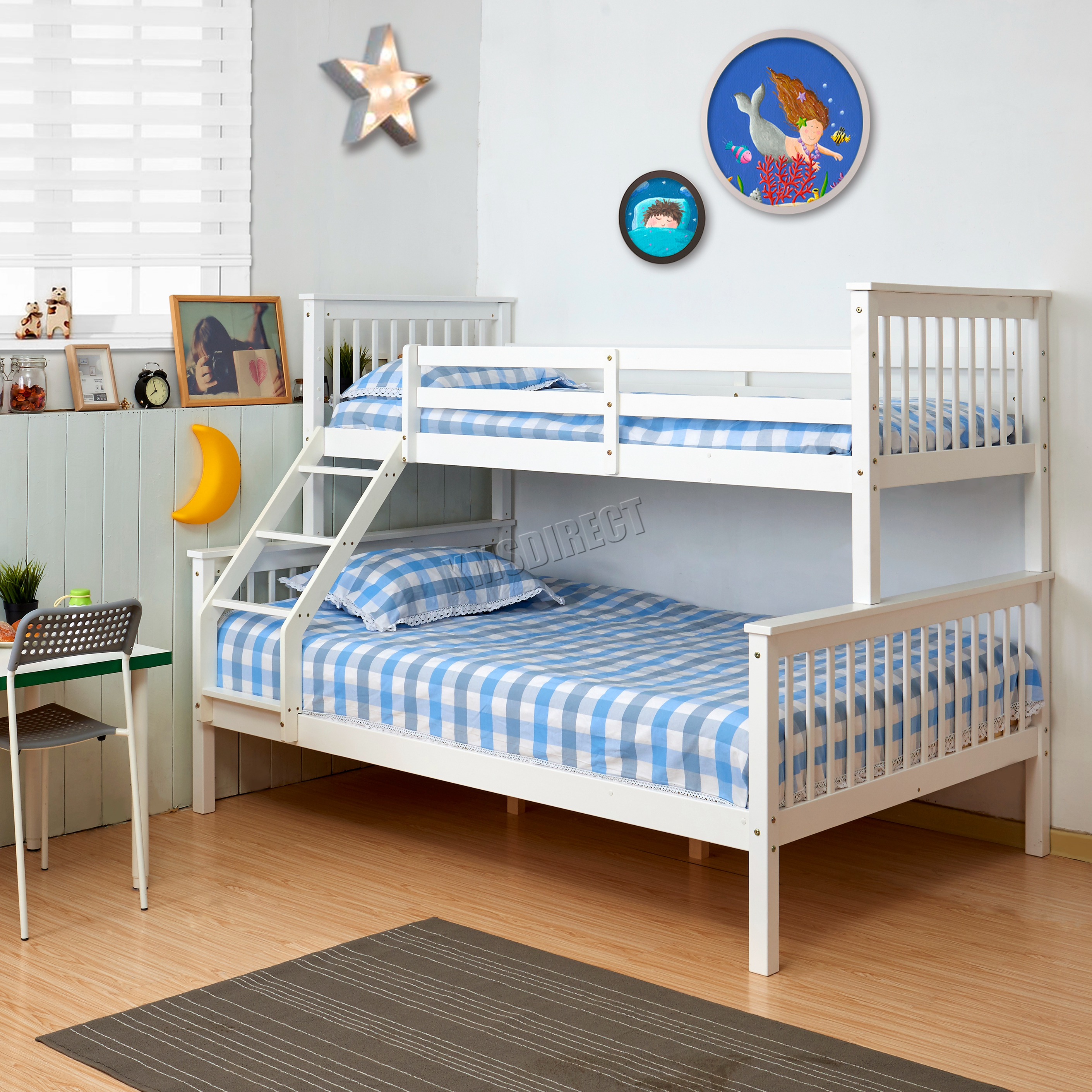 Foxhunter bunk bed wooden frame children kids triple for Wood frame bunk beds