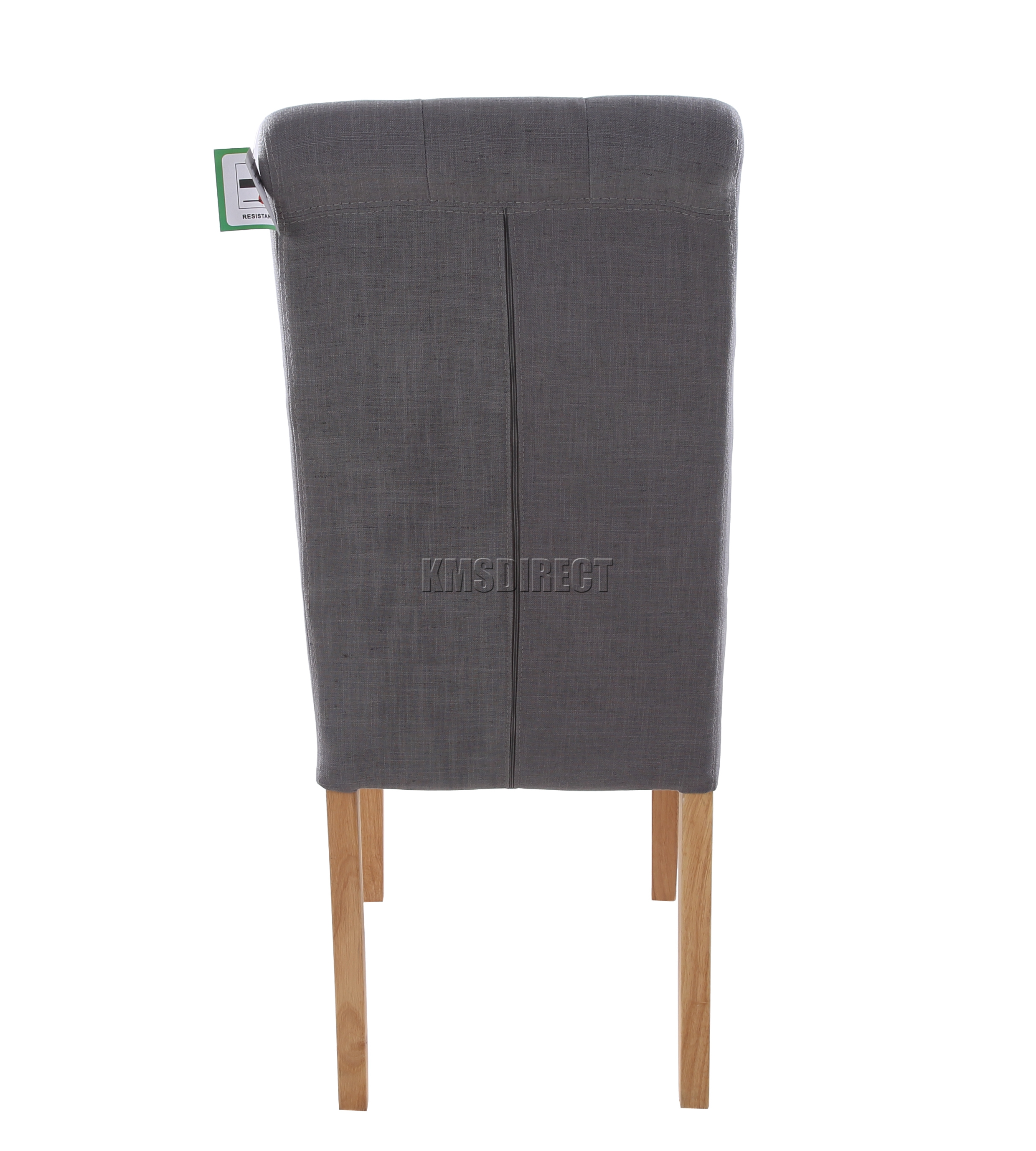 foxhunter grey linen fabric dining chairs scroll high back