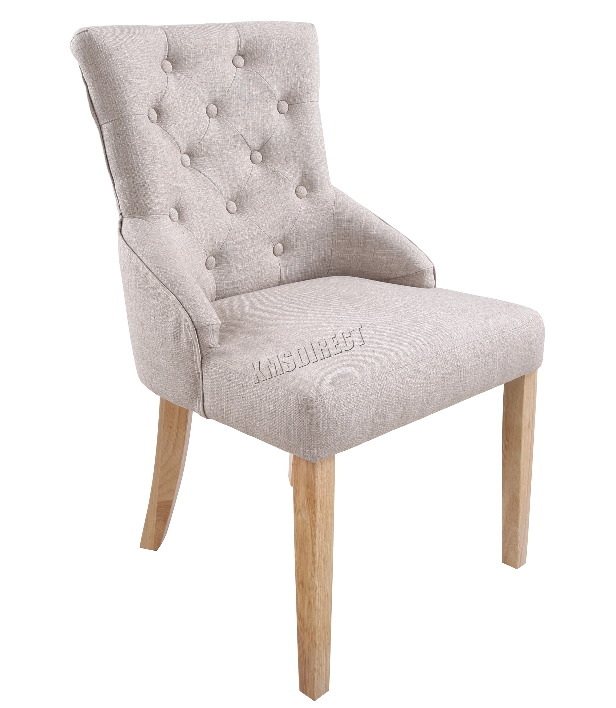 FoxHunter New Cream Linen Fabric Dining Chairs Scoop