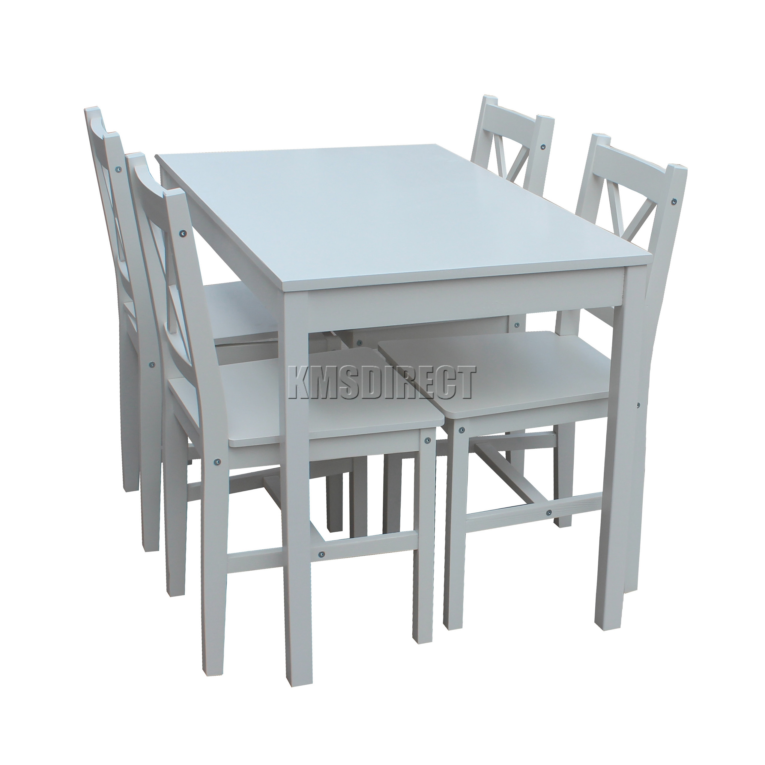White Kitchen Tables And Chairs: FoxHunter Solid Wooden Dining Table With 4 Chairs Set