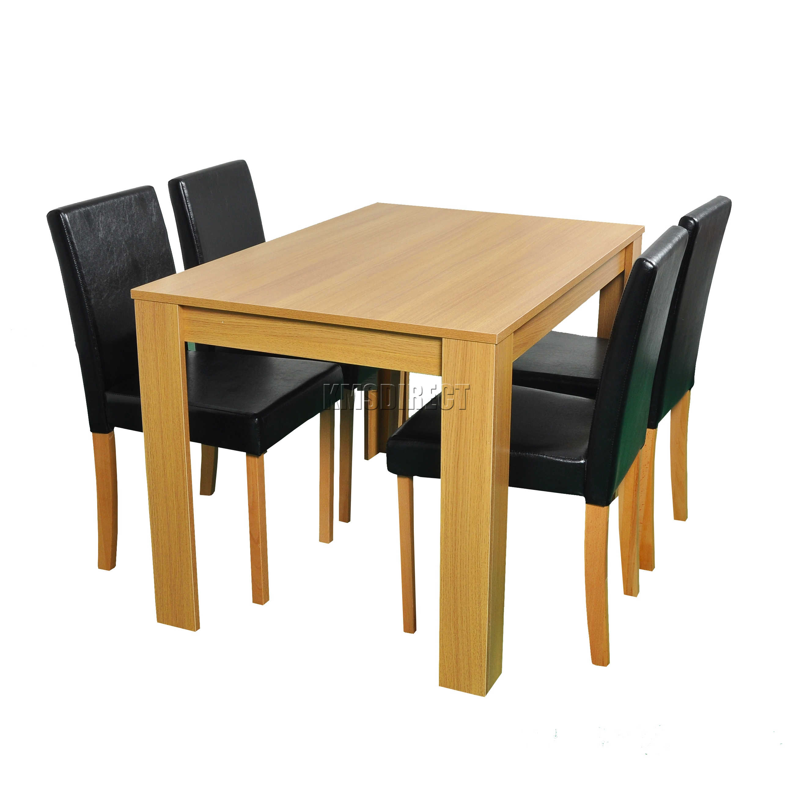 FoxHunter Wooden Dining Table And 4 PU Faux Leather Chairs Set Furniture Oak