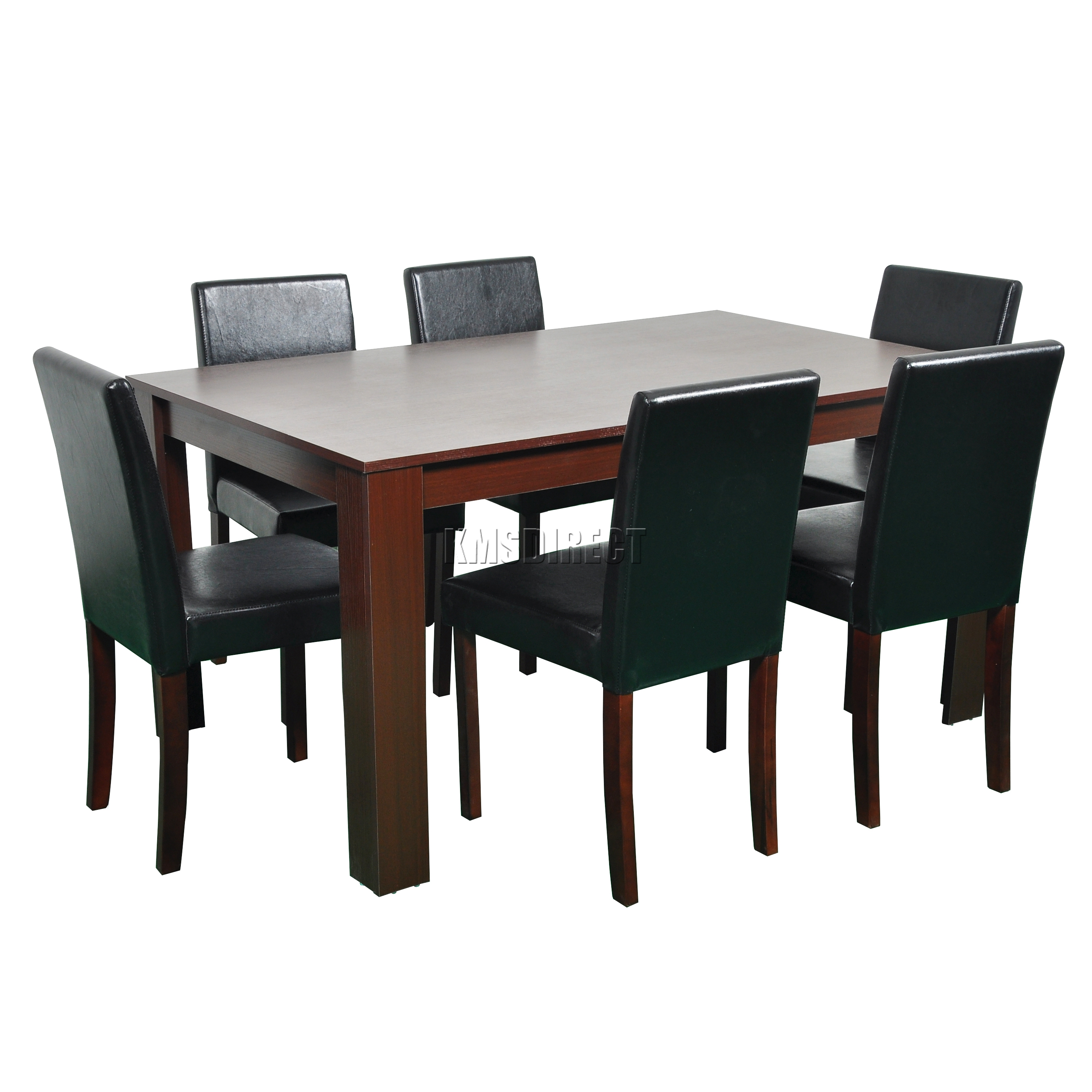 Foxhunter wooden dining table and 6 pu faux leather chairs set furniture walnut ebay Wooden dining table and chairs