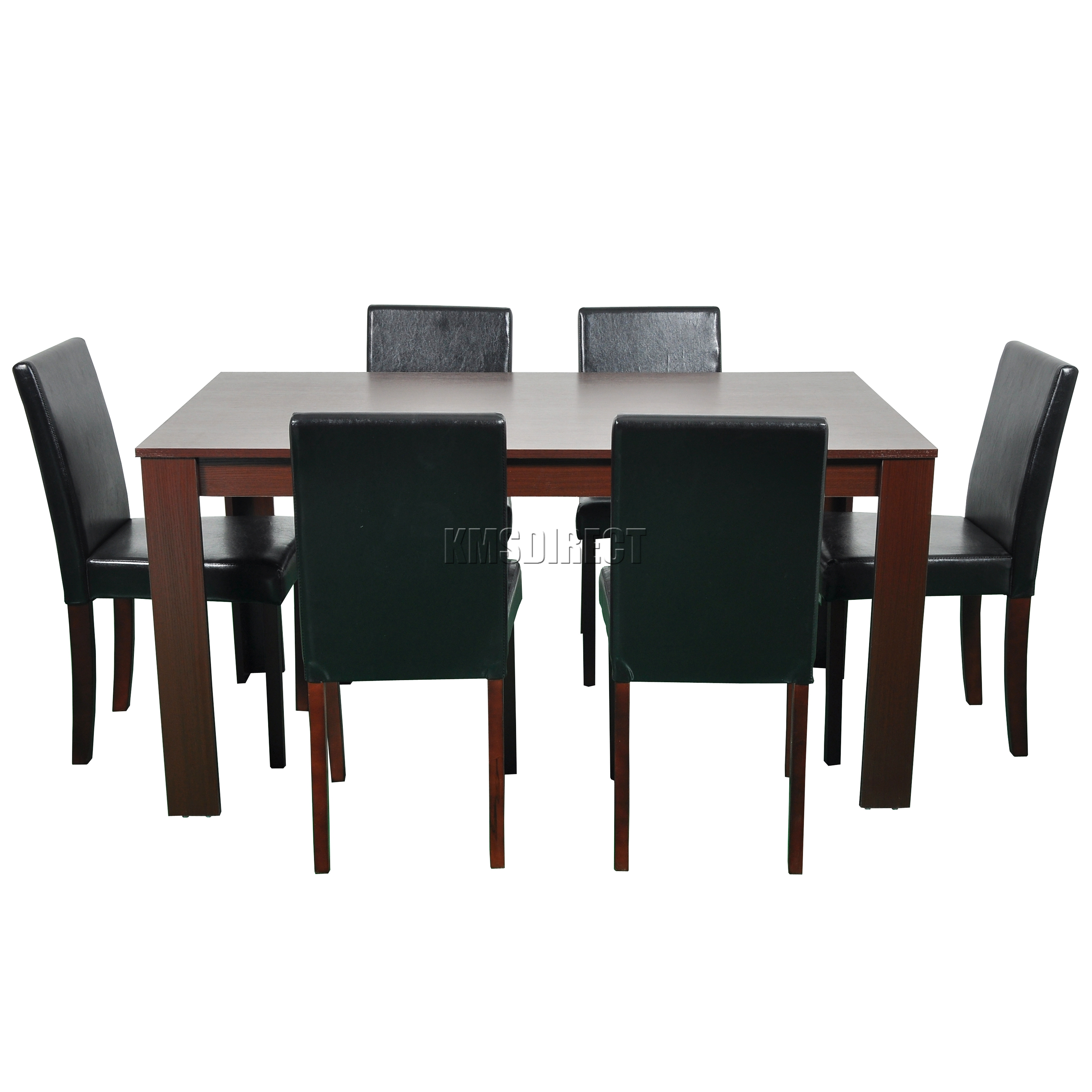 FoxHunter Wooden Dining Table And 6 PU Faux Leather Chairs Set Furniture Waln