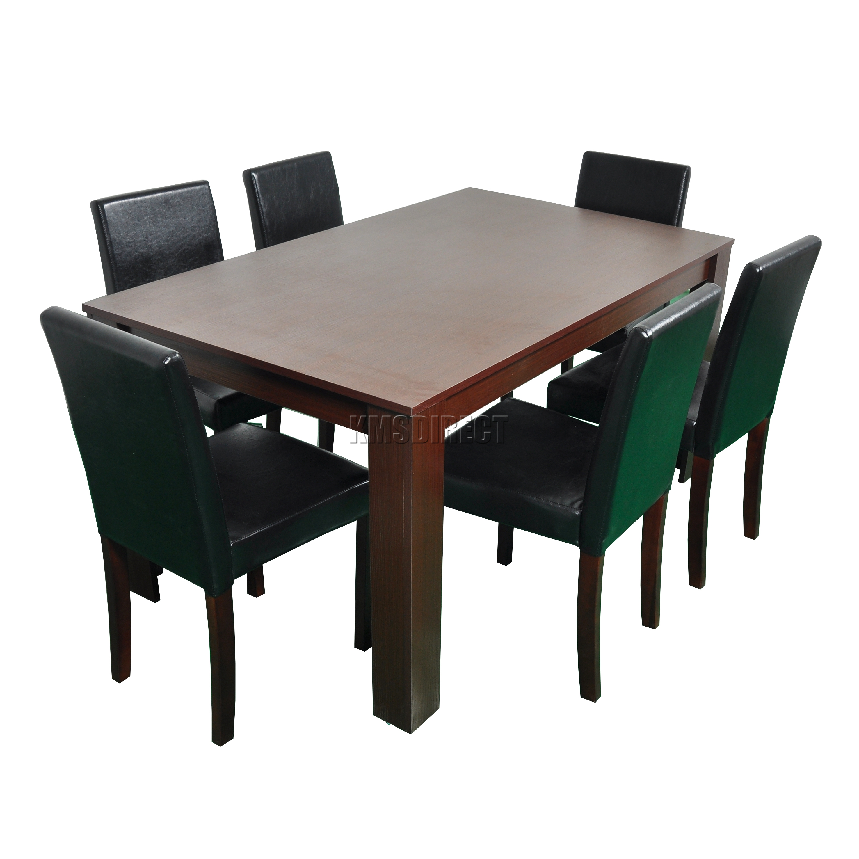 dining table and 6 pu faux leather chairs set furniture walnut ebay